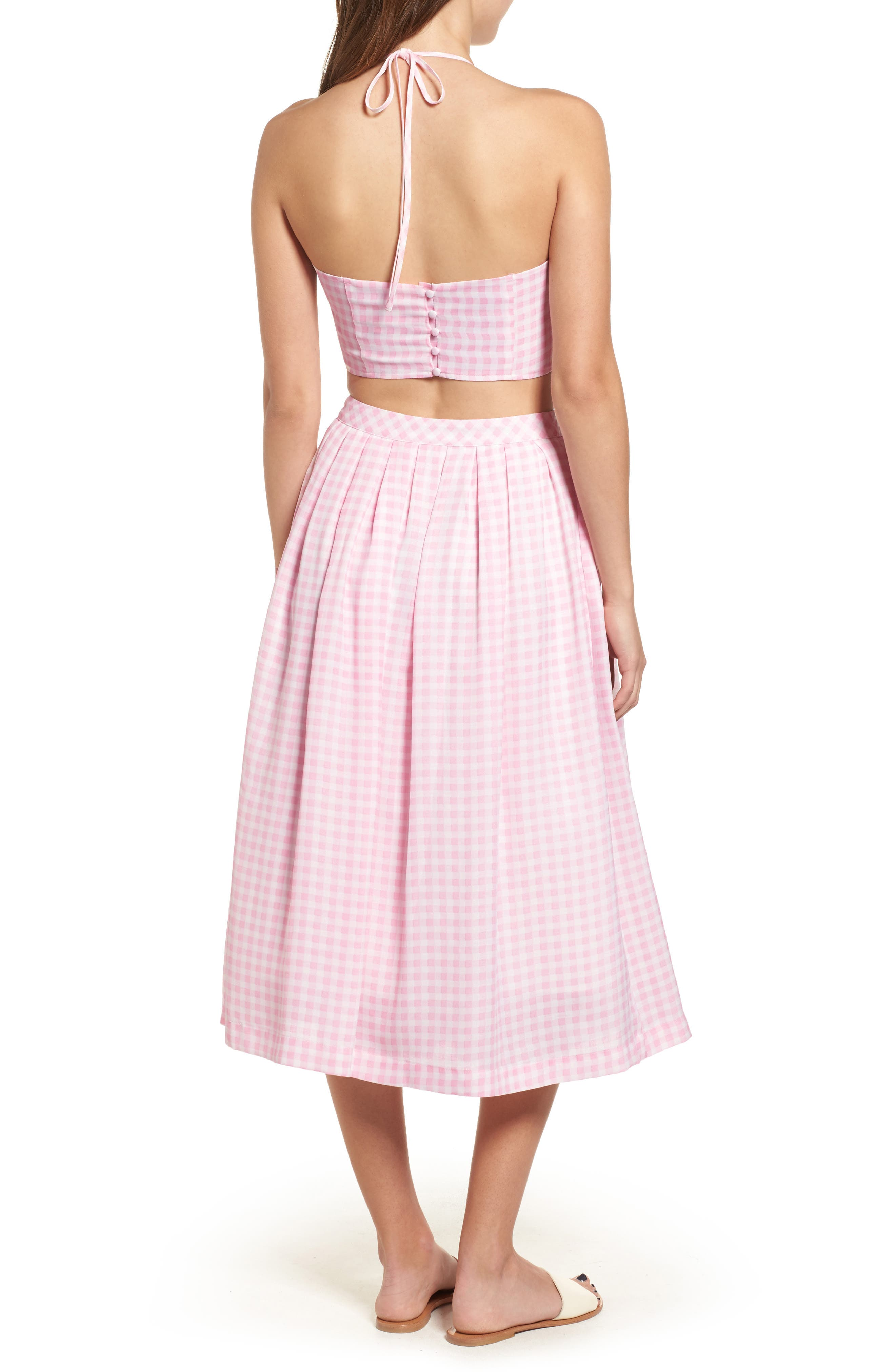 Gingham Halter Crop Top,                             Alternate thumbnail 8, color,                             650