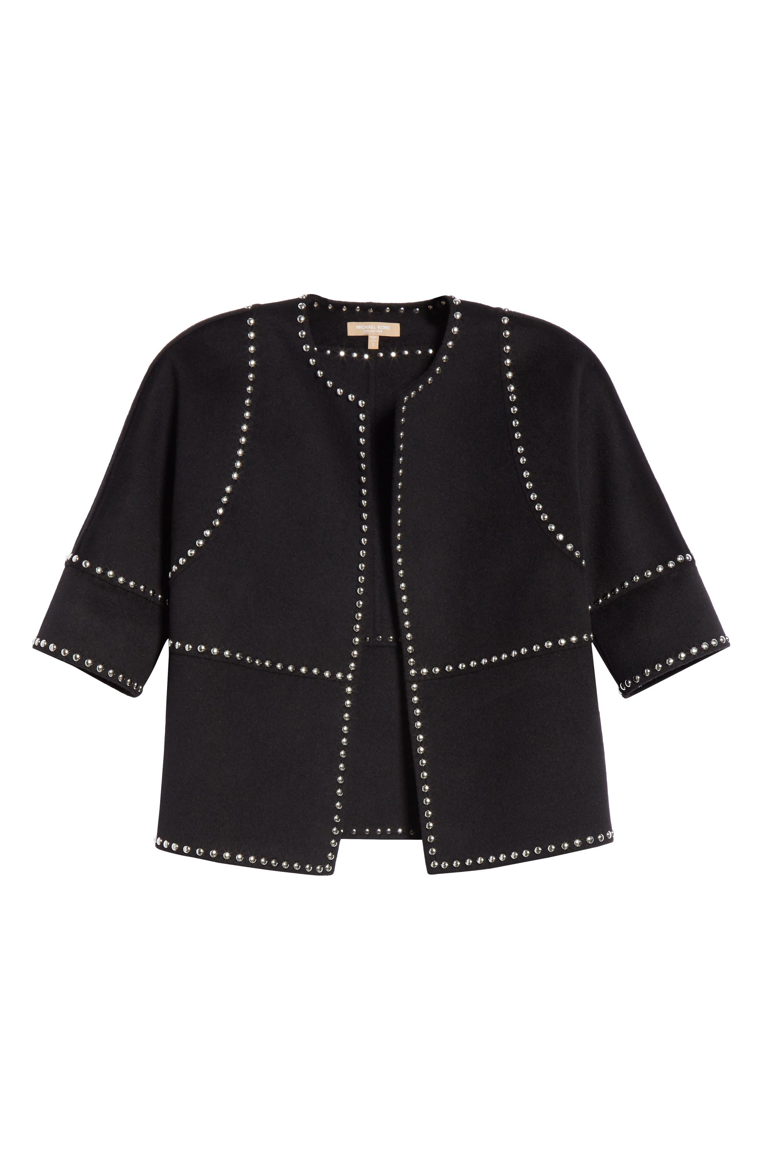 Cookie Studded Wool & Cashgora Jacket,                             Alternate thumbnail 5, color,                             BLACK
