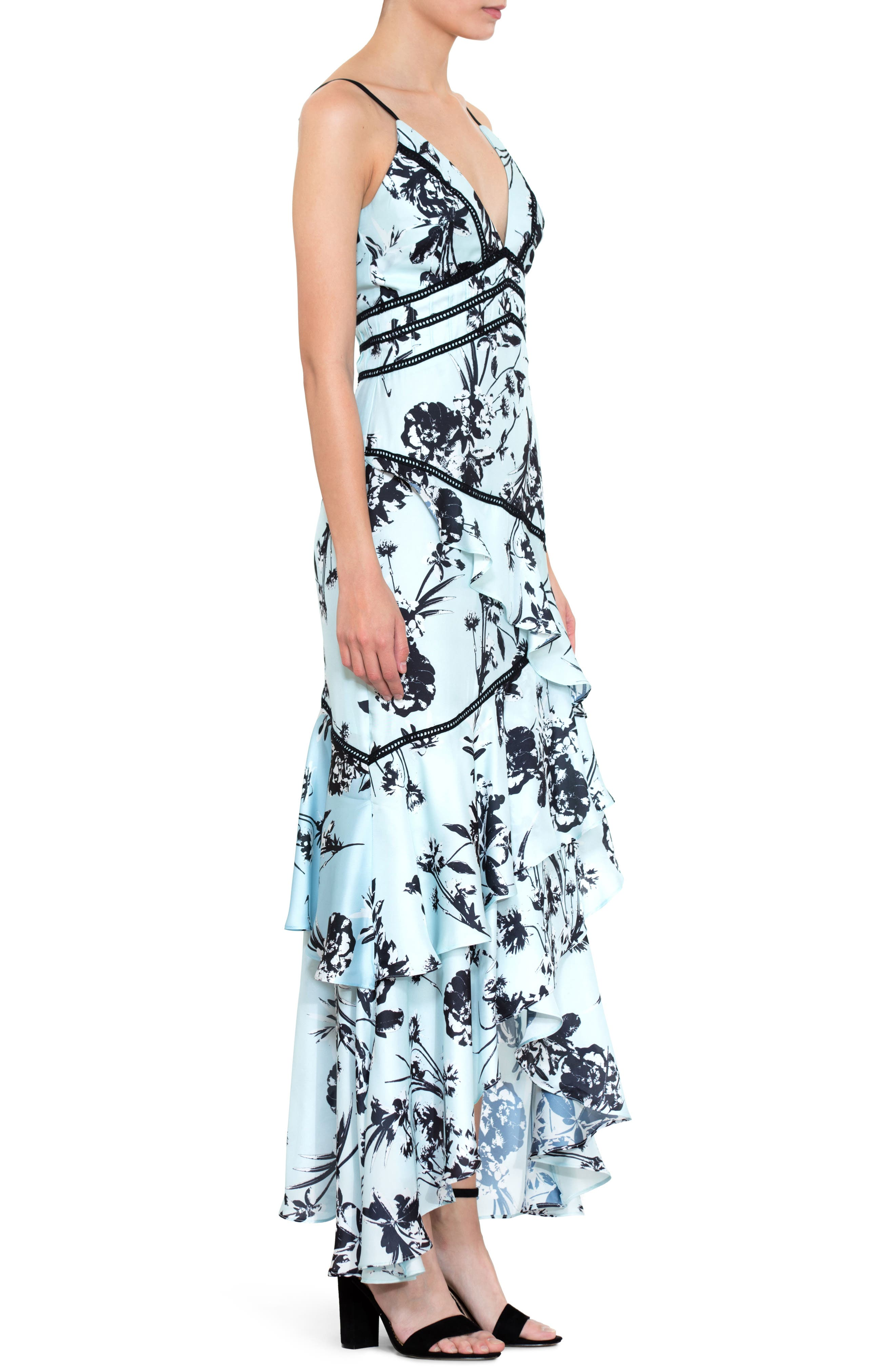 Floral Print Ruffle Gown,                             Alternate thumbnail 3, color,                             450