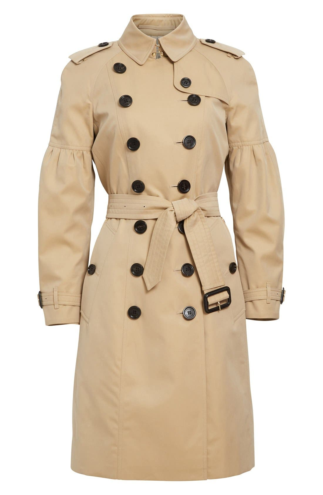 BURBERRY,                             Redhill Puff Sleeve Cotton Trench,                             Alternate thumbnail 6, color,                             250