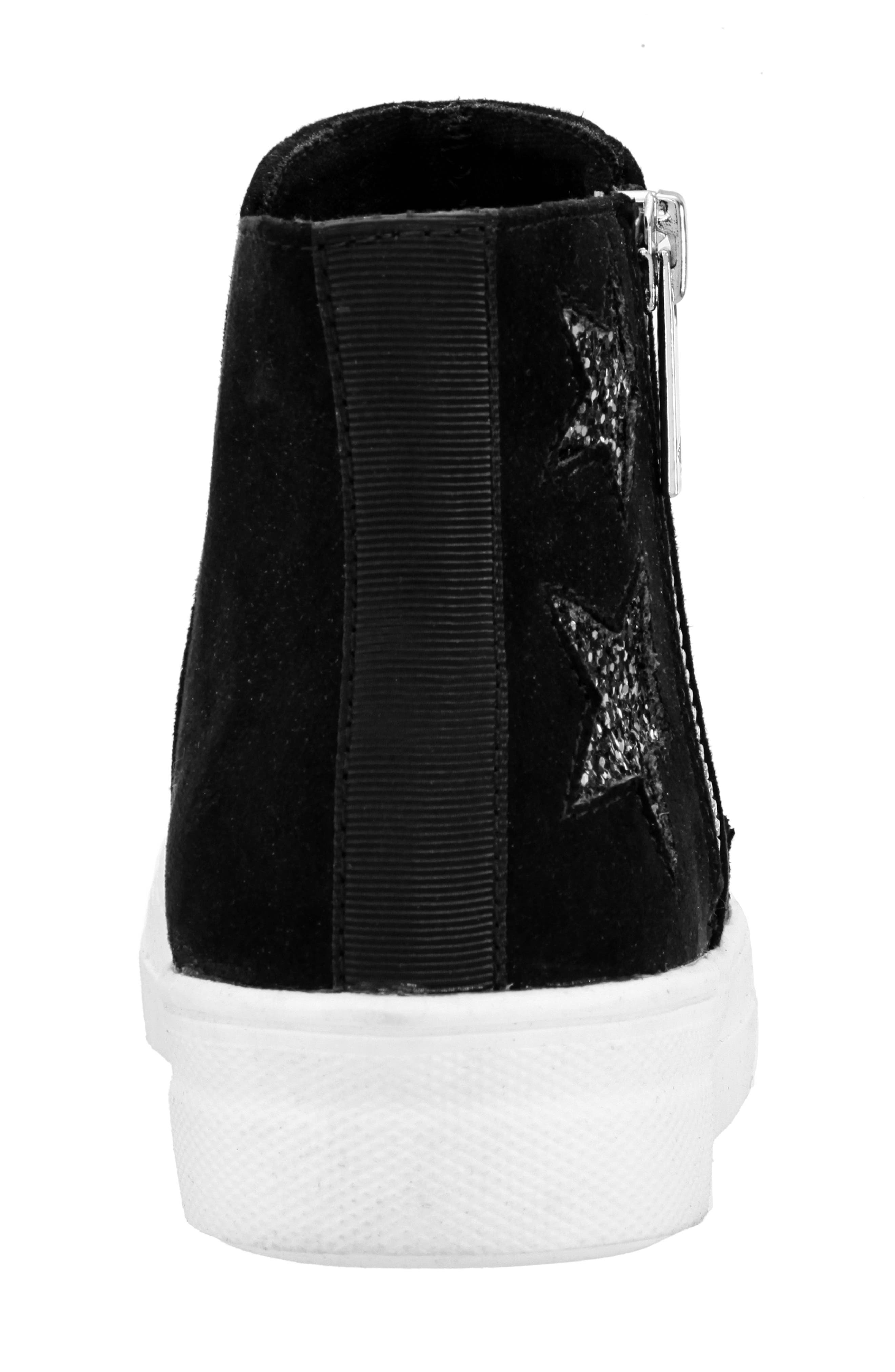 Jacqui Glitter High Top Sneaker,                             Alternate thumbnail 7, color,                             BLACK MICRO SUEDE