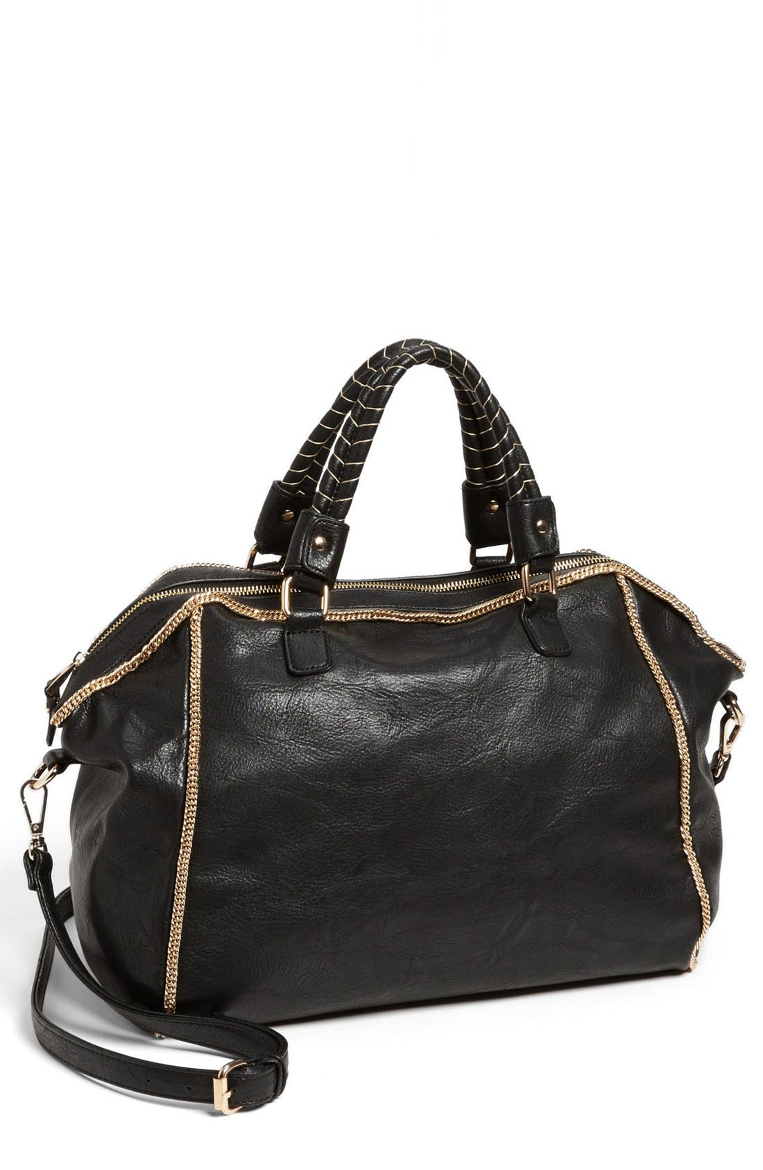 'Janae' Faux Leather Satchel, Main, color, 001