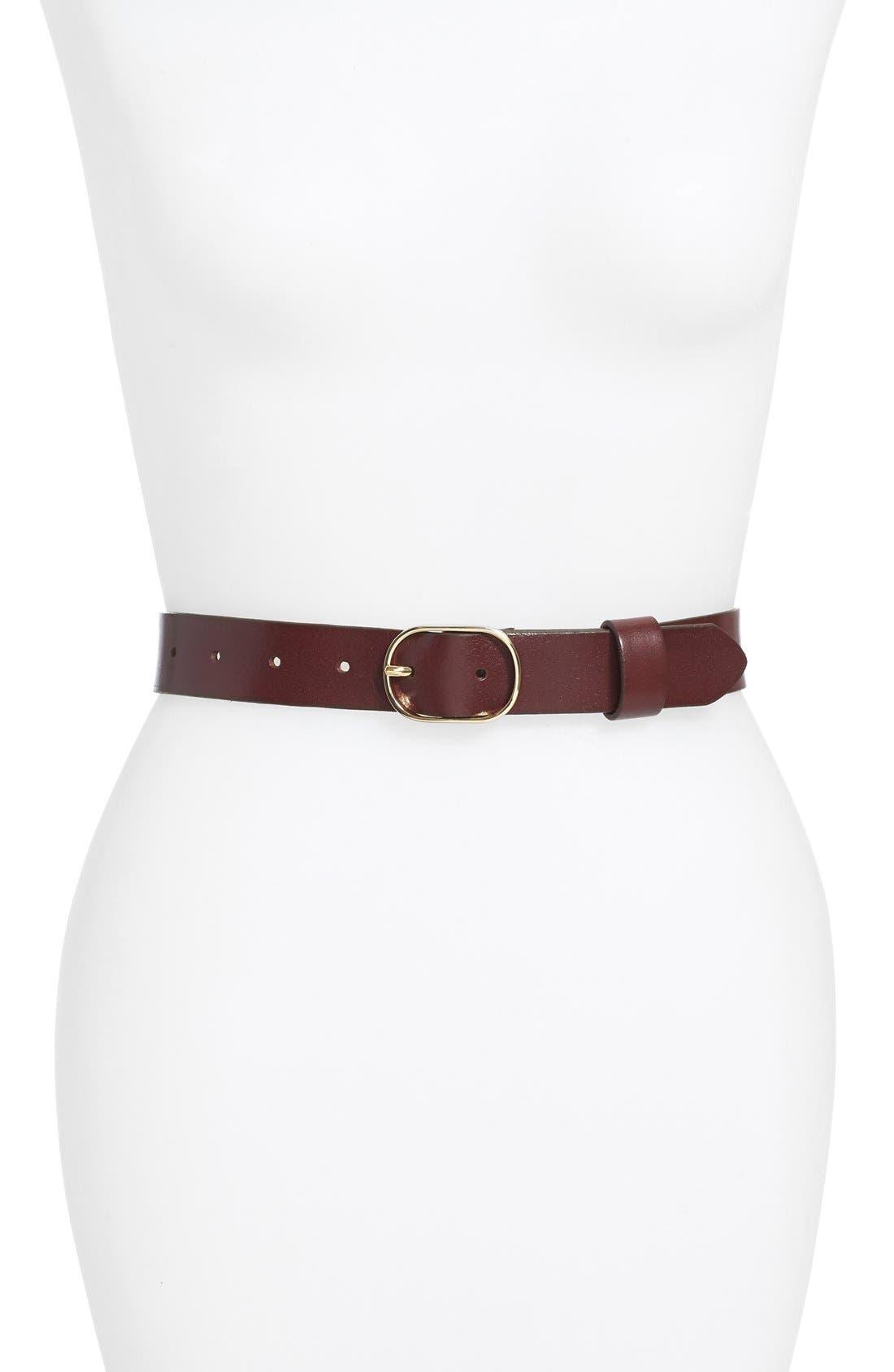 Tailored Trouser Leather Belt,                             Main thumbnail 1, color,                             BURGUNDY STEM