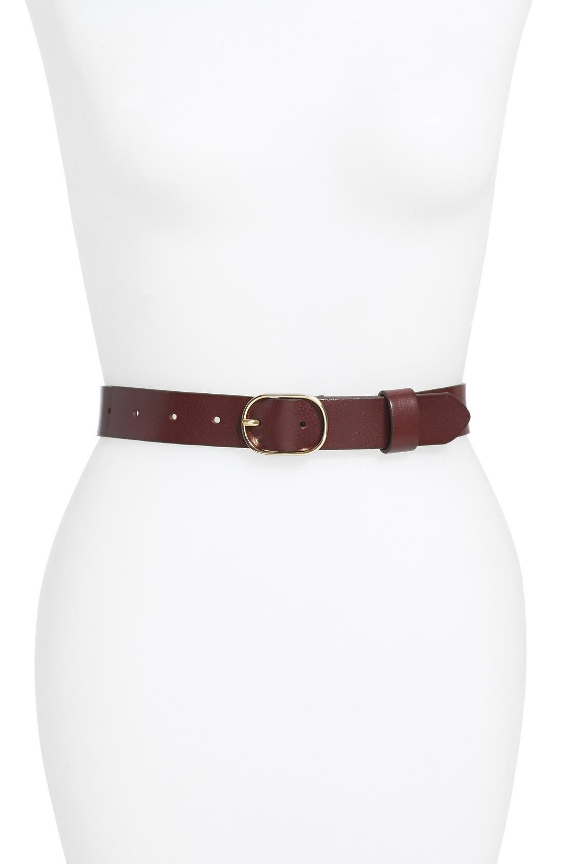 Tailored Trouser Leather Belt,                         Main,                         color, BURGUNDY STEM