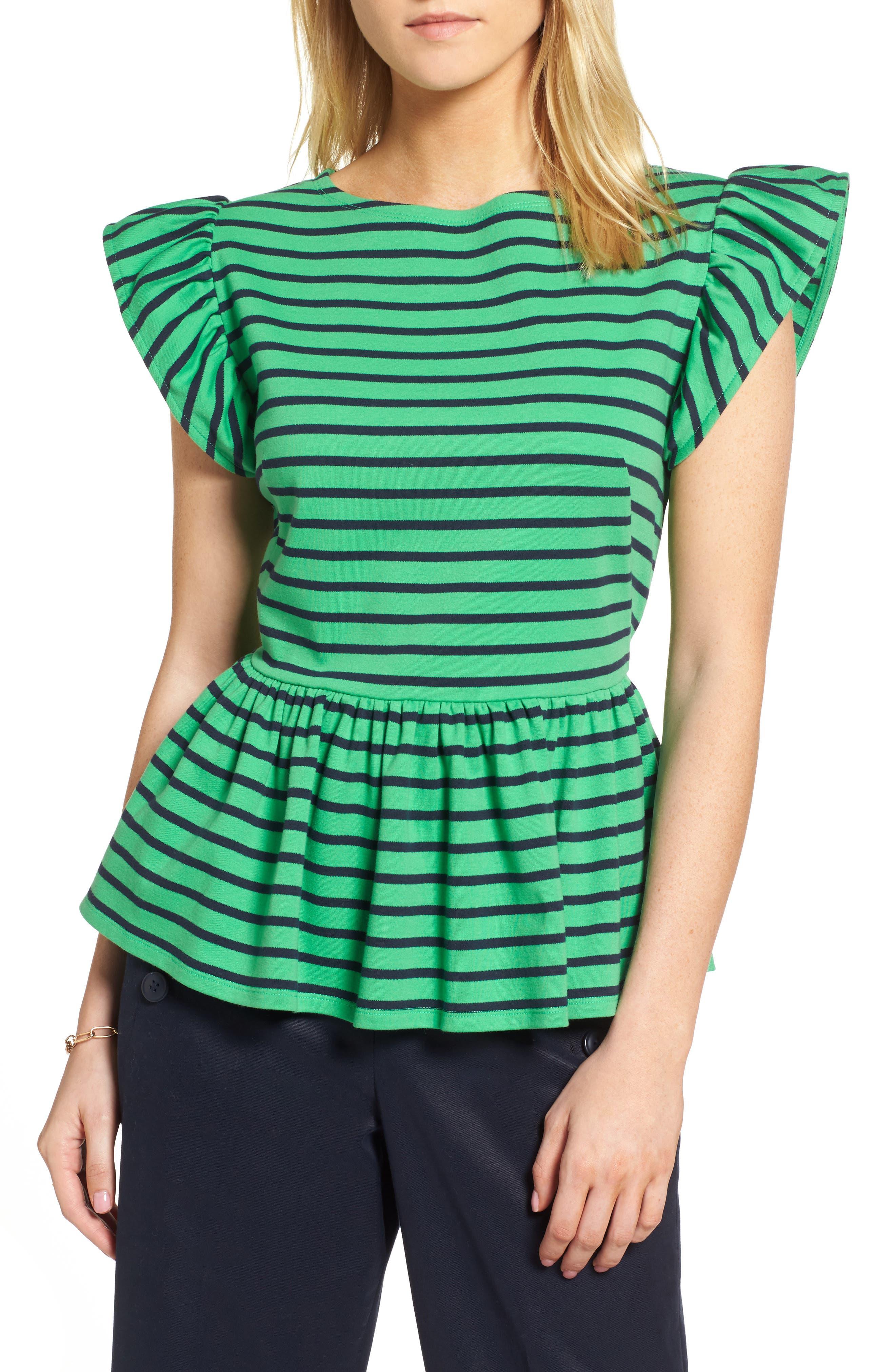 Stripe Knit Peplum Top,                             Main thumbnail 1, color,