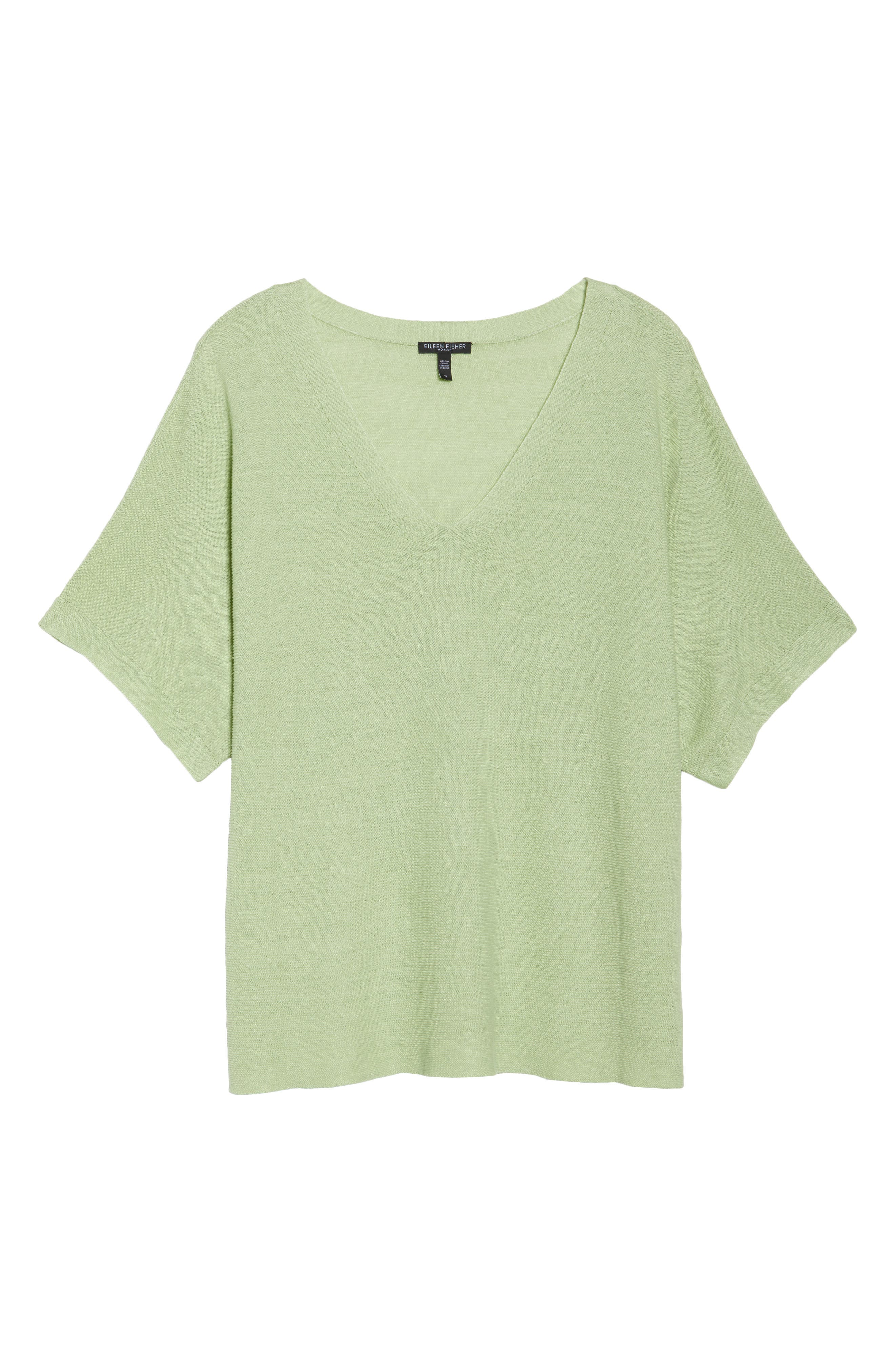 V-Neck Organic Linen Top,                             Alternate thumbnail 34, color,