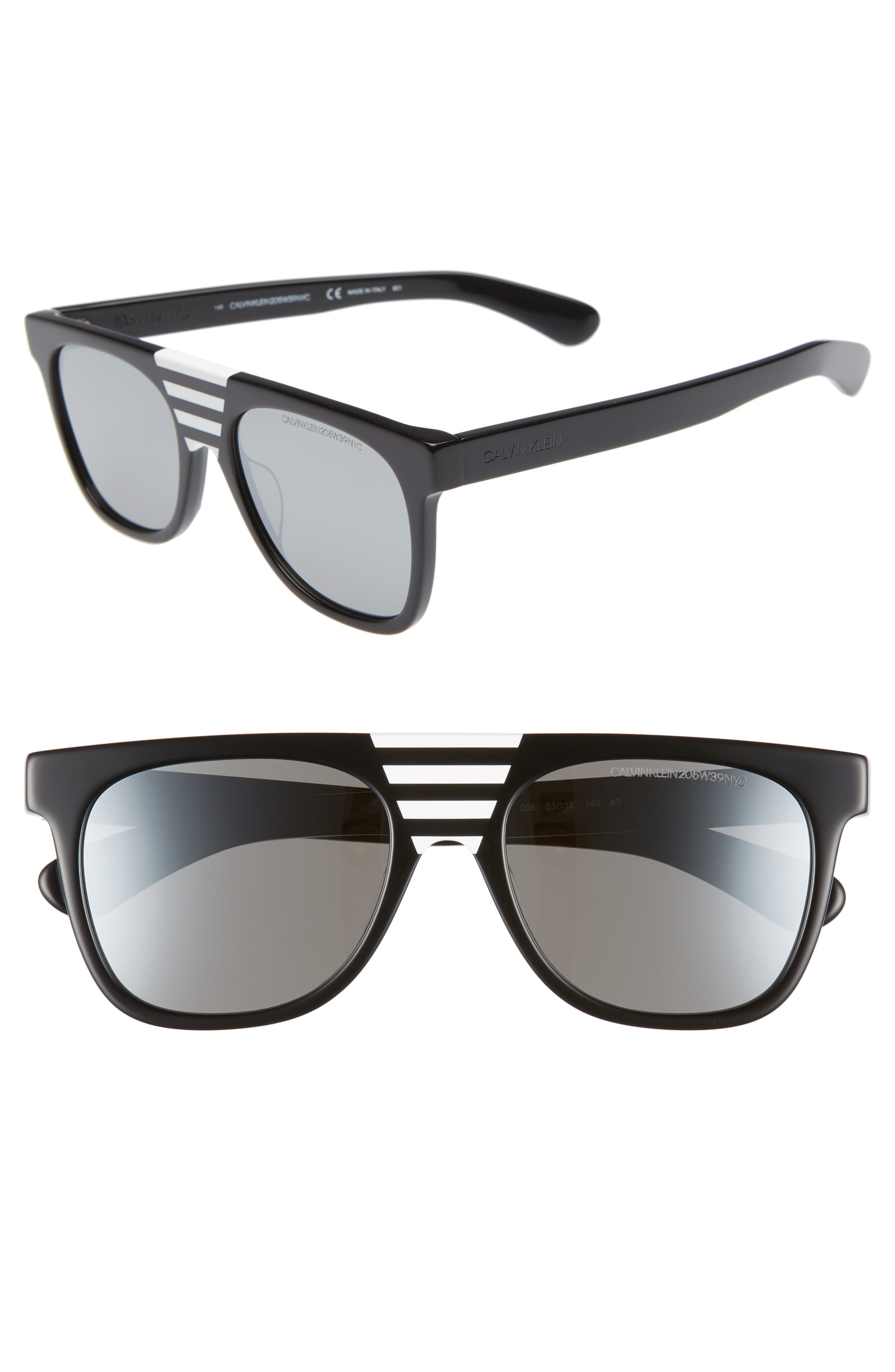 Flattop Acetate Mirrored Sunglasses W/ Contrast Striped Nose Bridge in Black/ Stripes