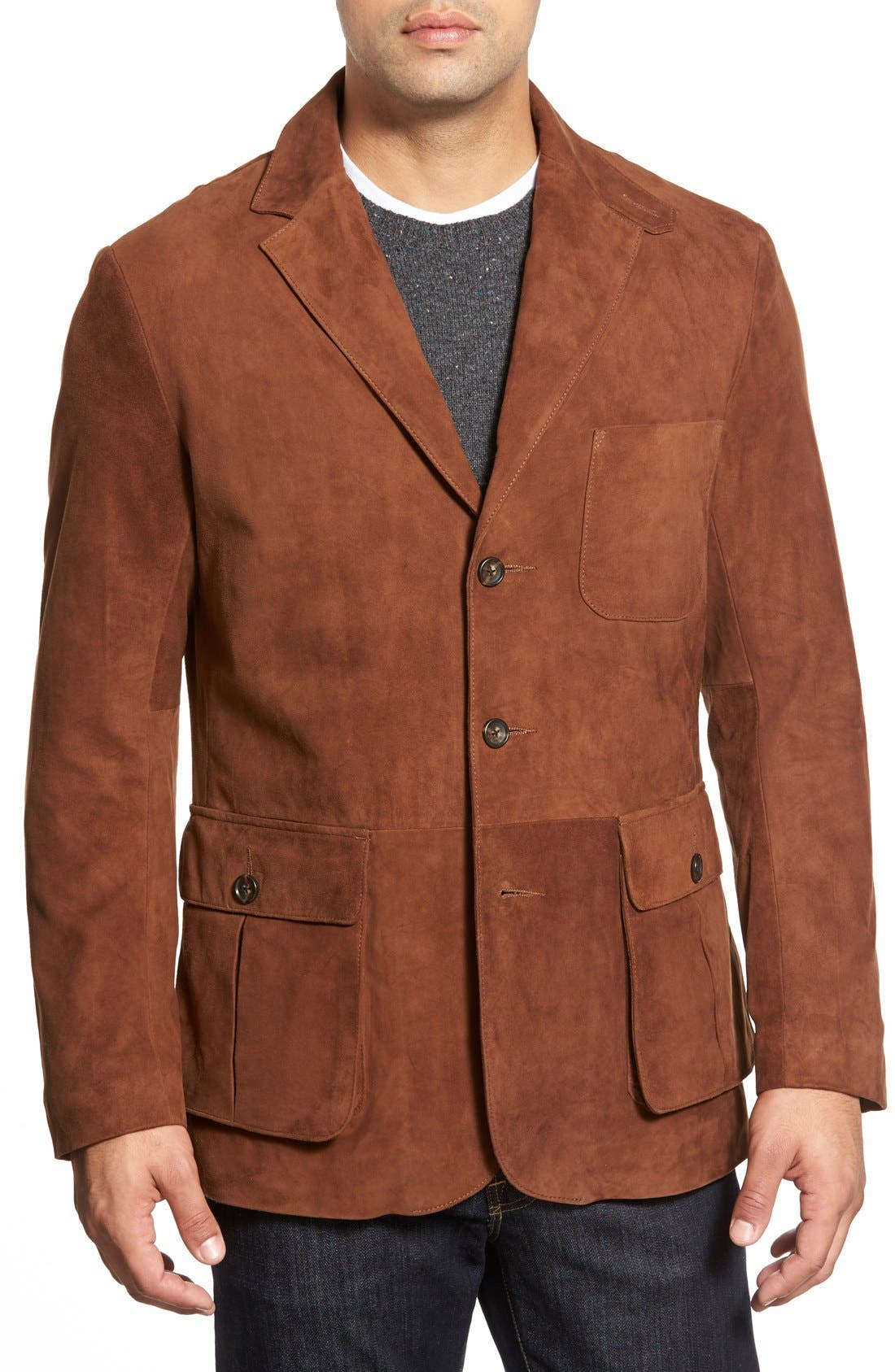 Slim Fit Suede Sport Coat,                             Alternate thumbnail 3, color,                             BRANDY