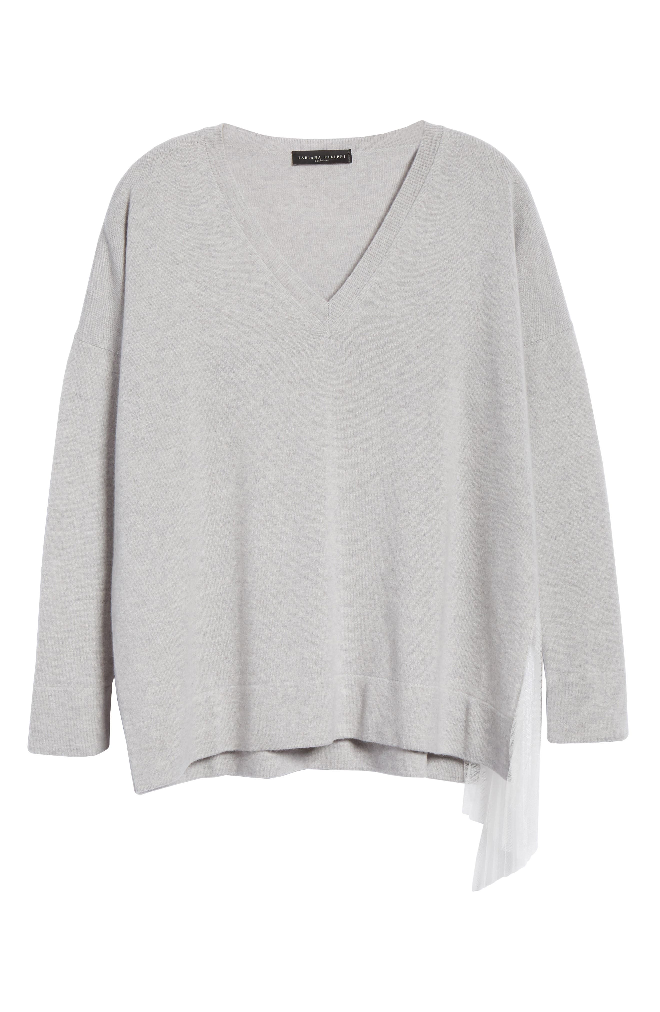 FABIANA FILIPPI,                             Tulle Inset Cashmere Sweater,                             Alternate thumbnail 7, color,                             GREY