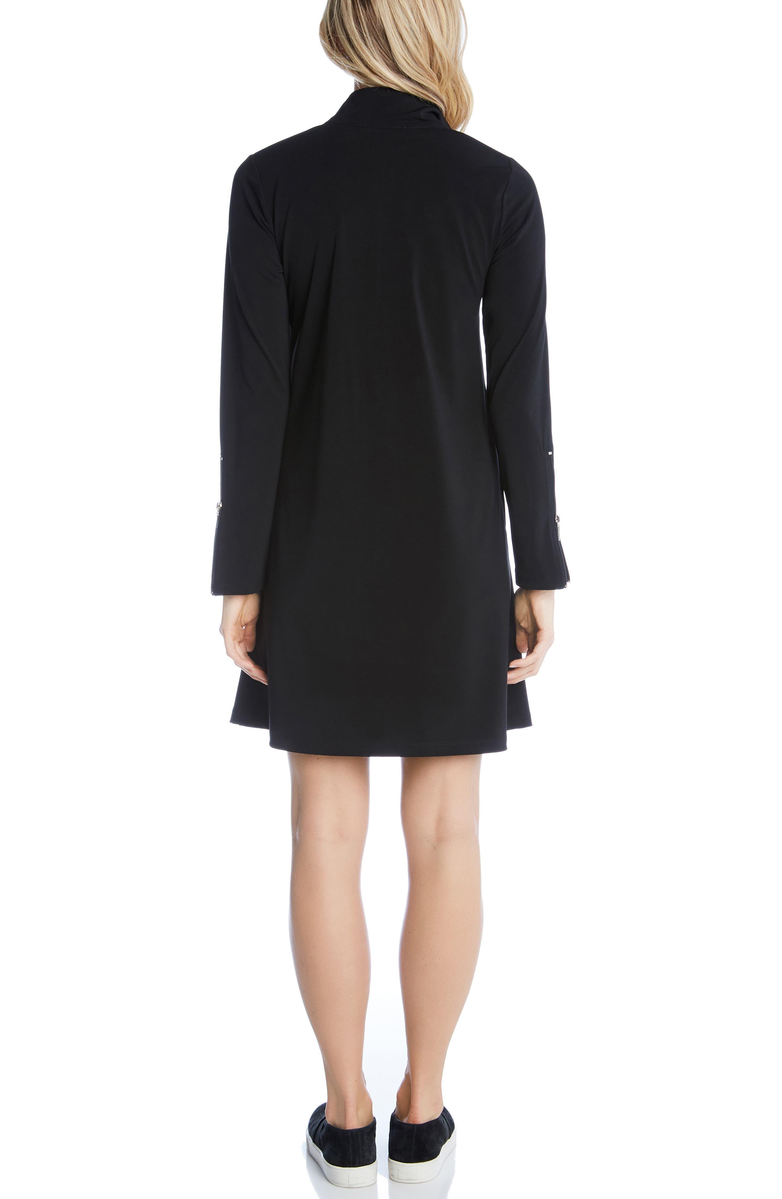Quarter Zip A-Line Dress,                             Alternate thumbnail 2, color,                             BLACK