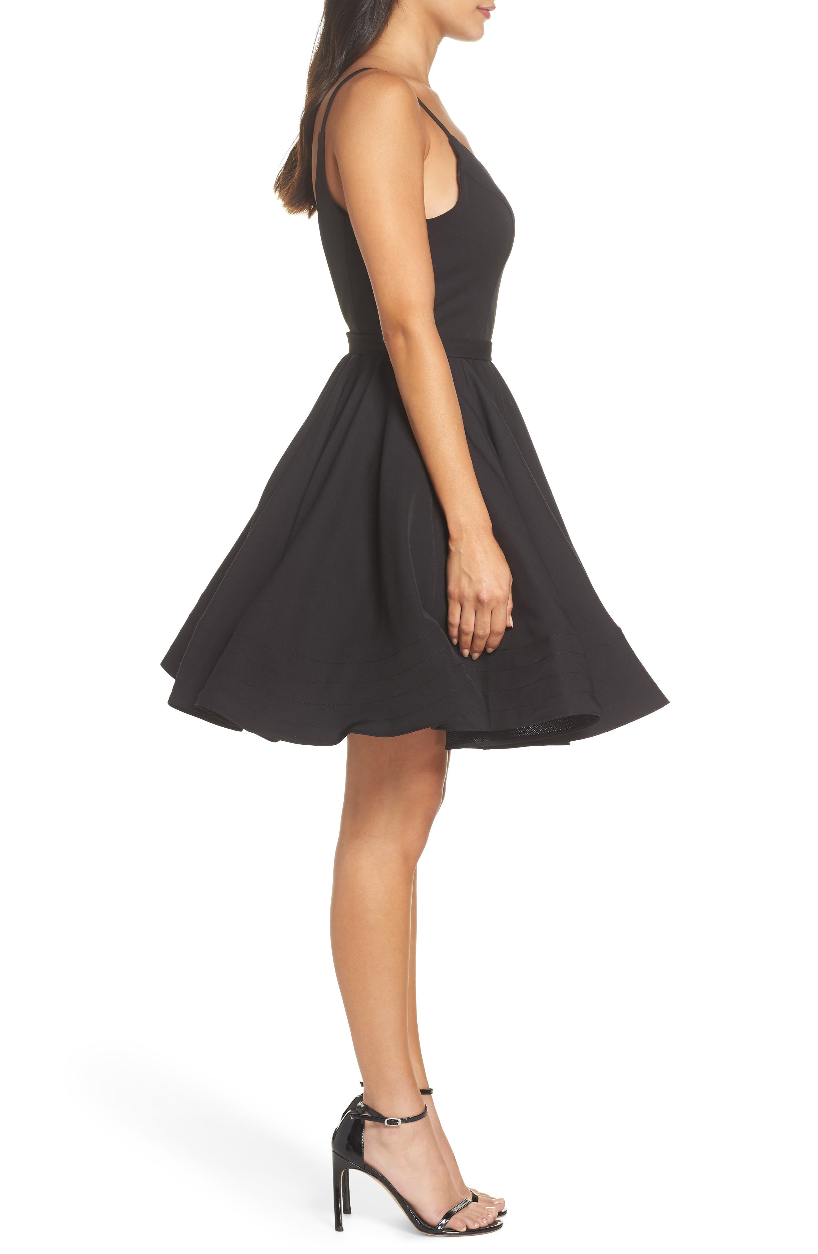 Fit & Flare Party Dress,                             Alternate thumbnail 3, color,                             BLACK