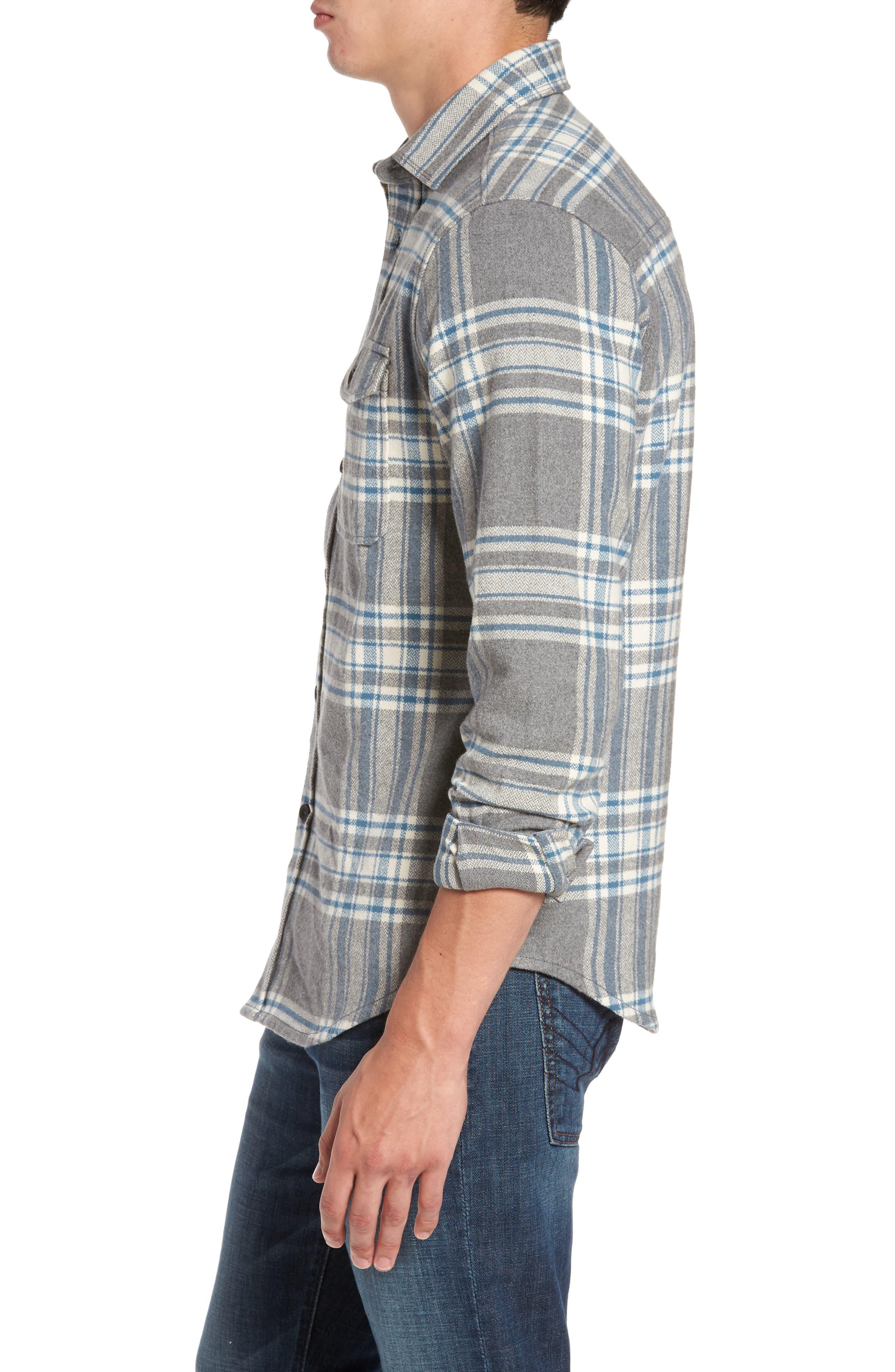 Marin Herringbone Plaid Flannel Shirt,                             Alternate thumbnail 3, color,                             035