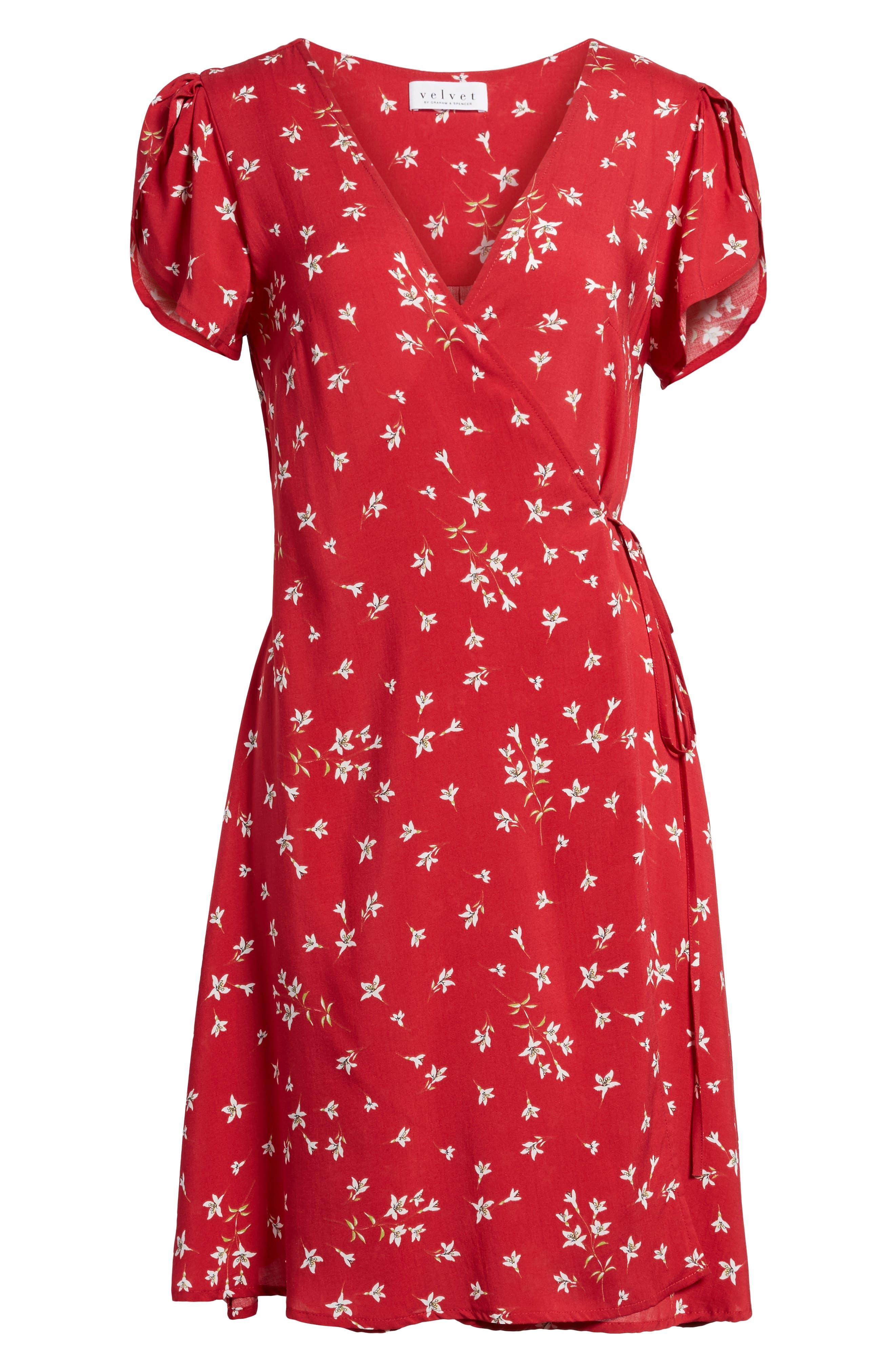 Spring Floral Wrap Dress,                             Alternate thumbnail 6, color,                             600