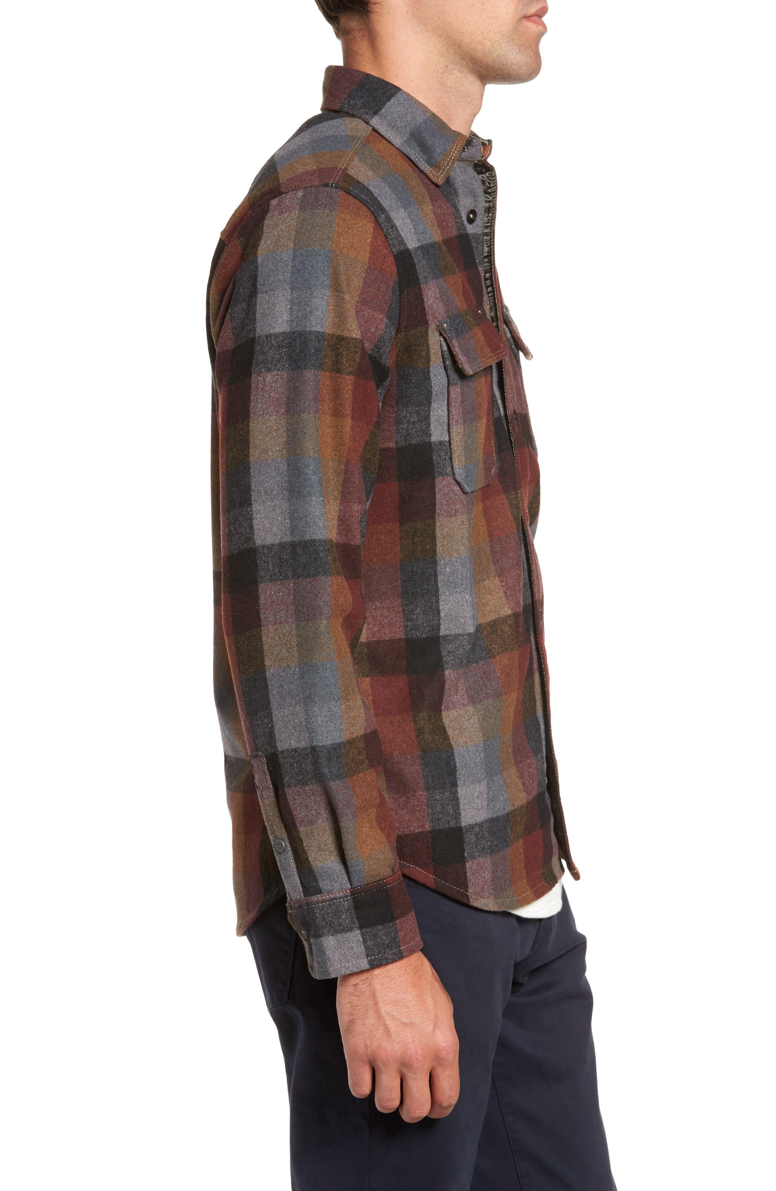 Heath Brushed Flannel Shirt,                             Alternate thumbnail 3, color,                             BURGUNDY