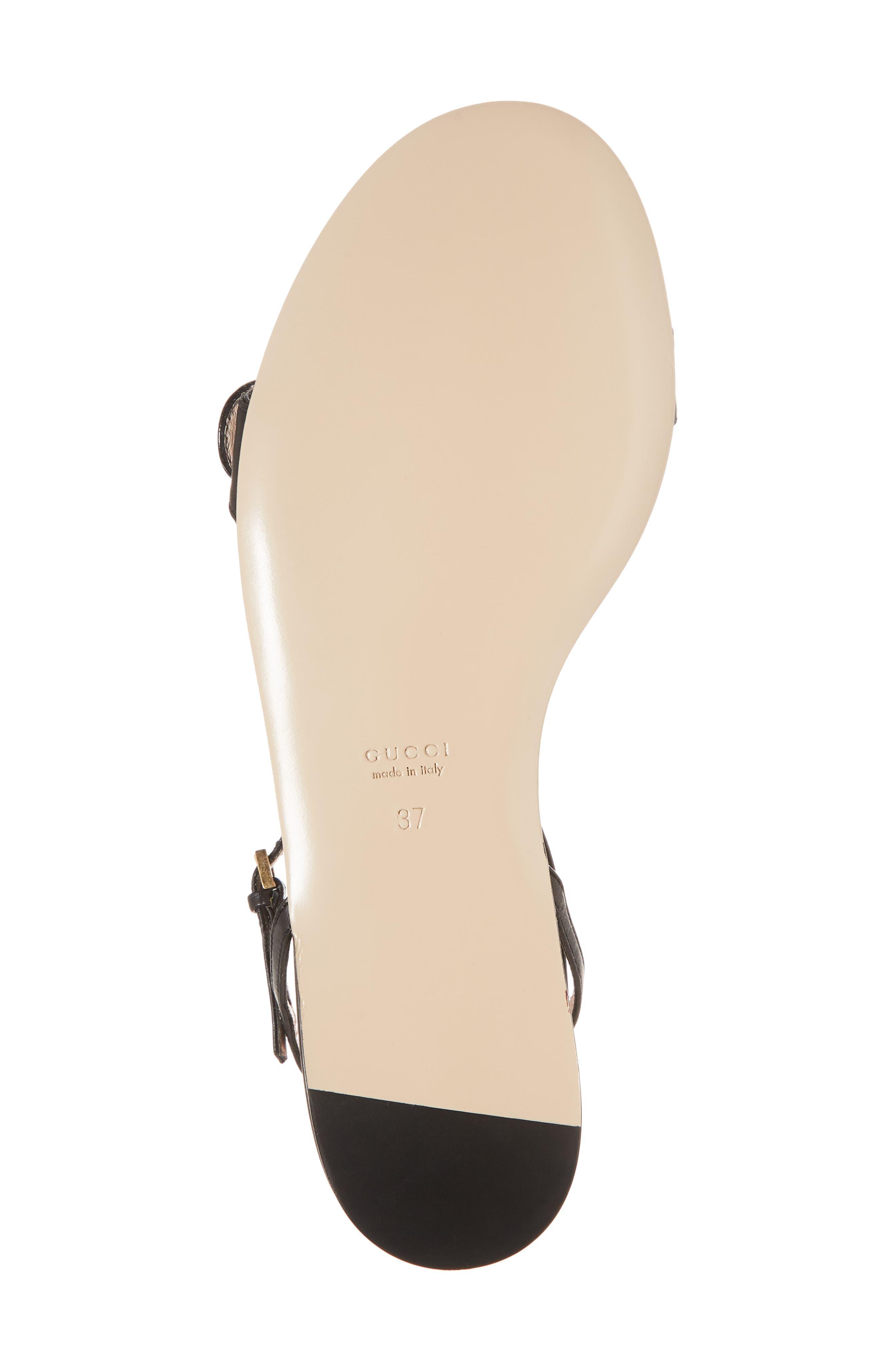 Quarter Strap Flat Sandal,                             Alternate thumbnail 6, color,                             BLACK