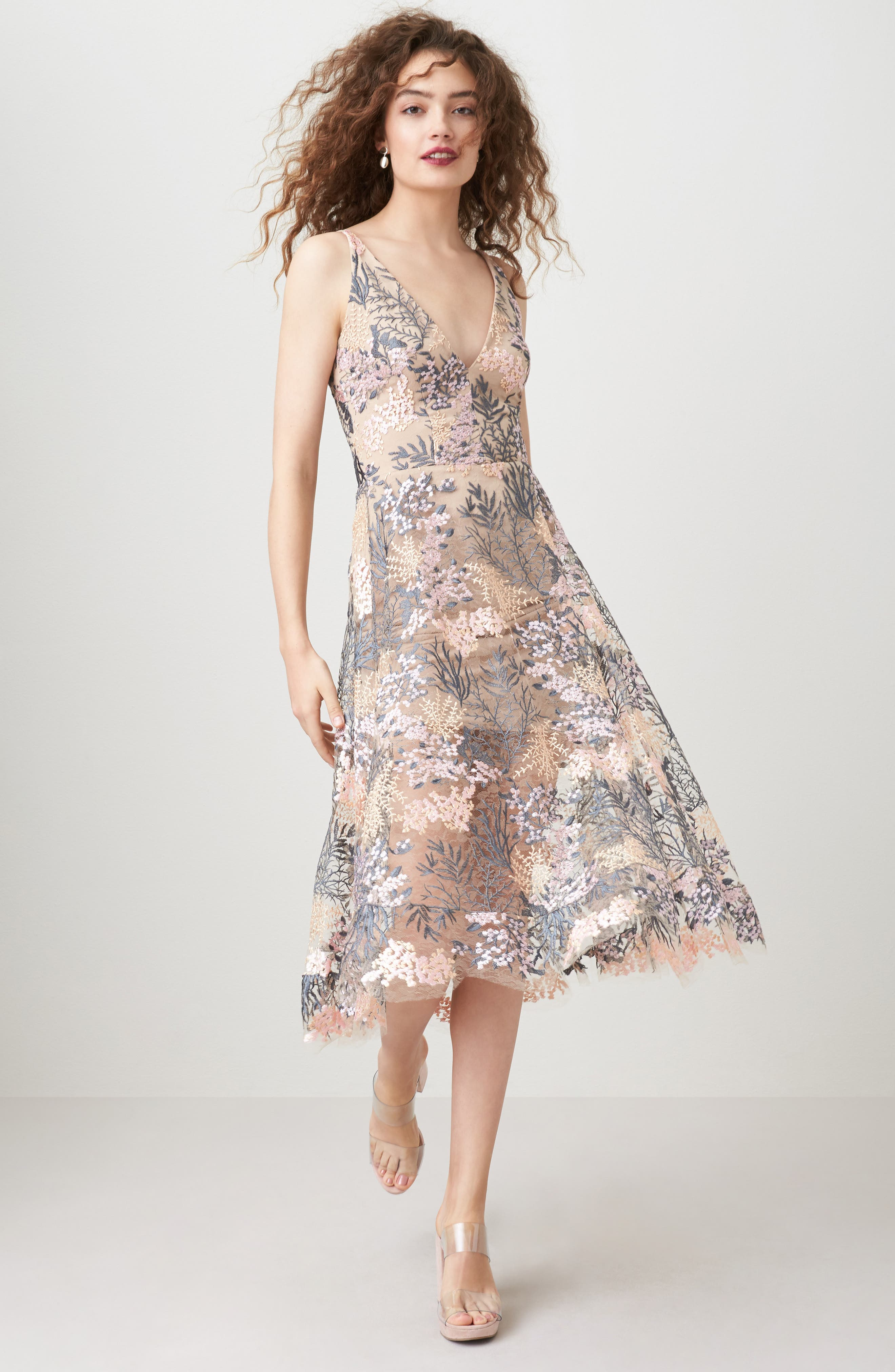 Audrey Embroidered Fit & Flare Dress,                             Alternate thumbnail 6, color,                             PINK BLOSSOM