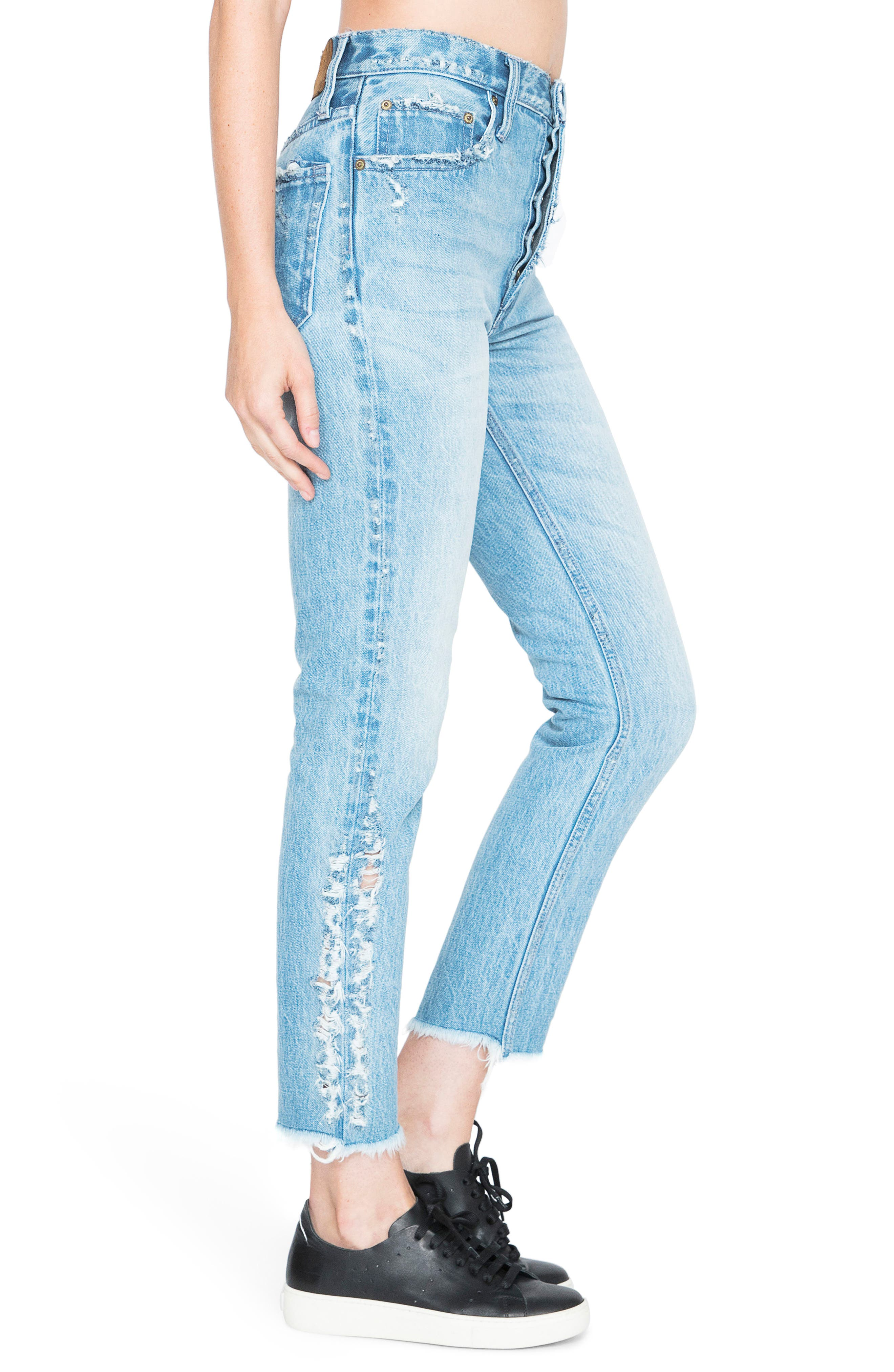 AMX Side Fray High Waist Ankle Jeans,                             Alternate thumbnail 3, color,                             426