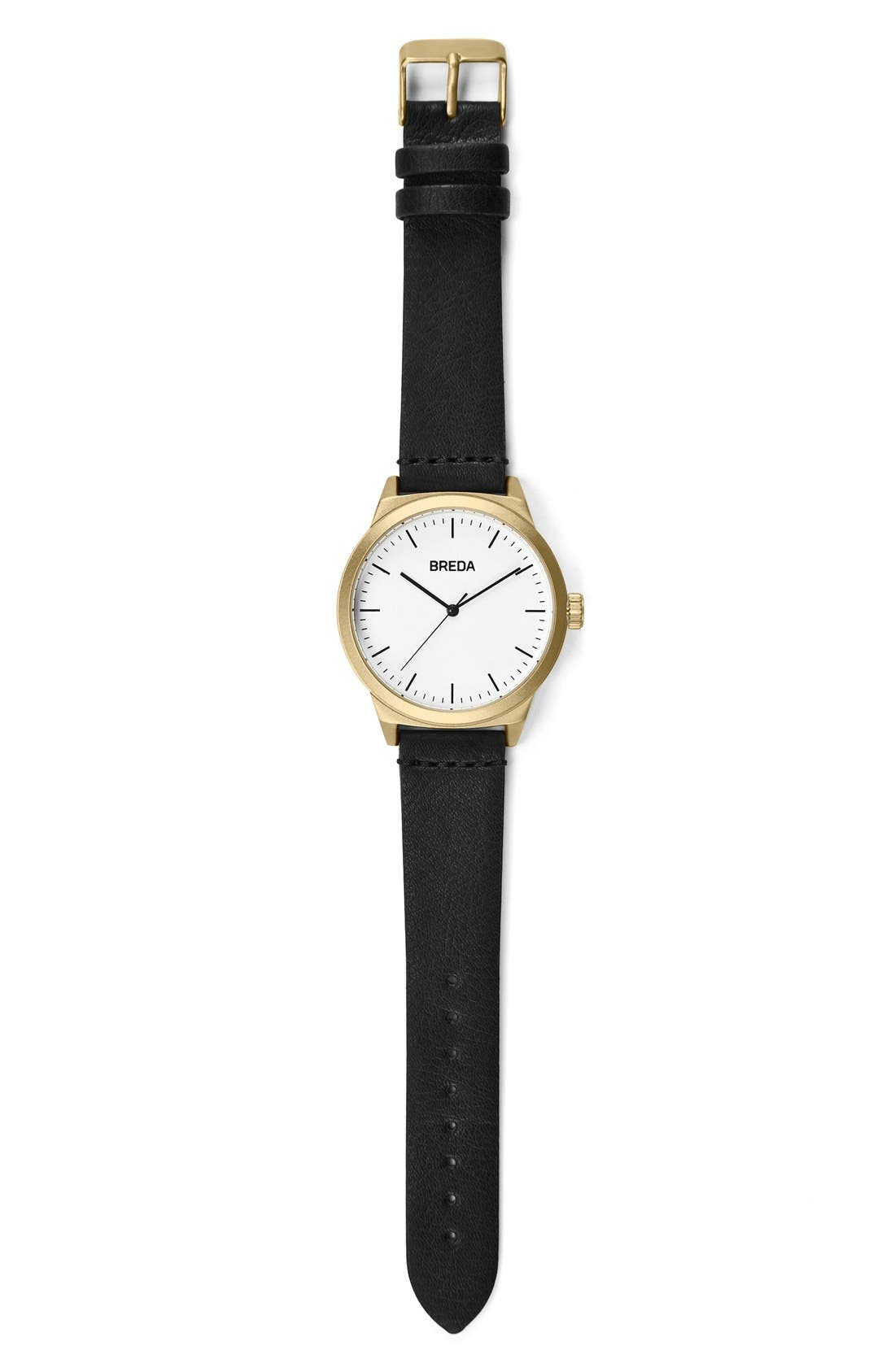 Rand Round Leather Strap Watch, 43mm,                             Alternate thumbnail 3, color,
