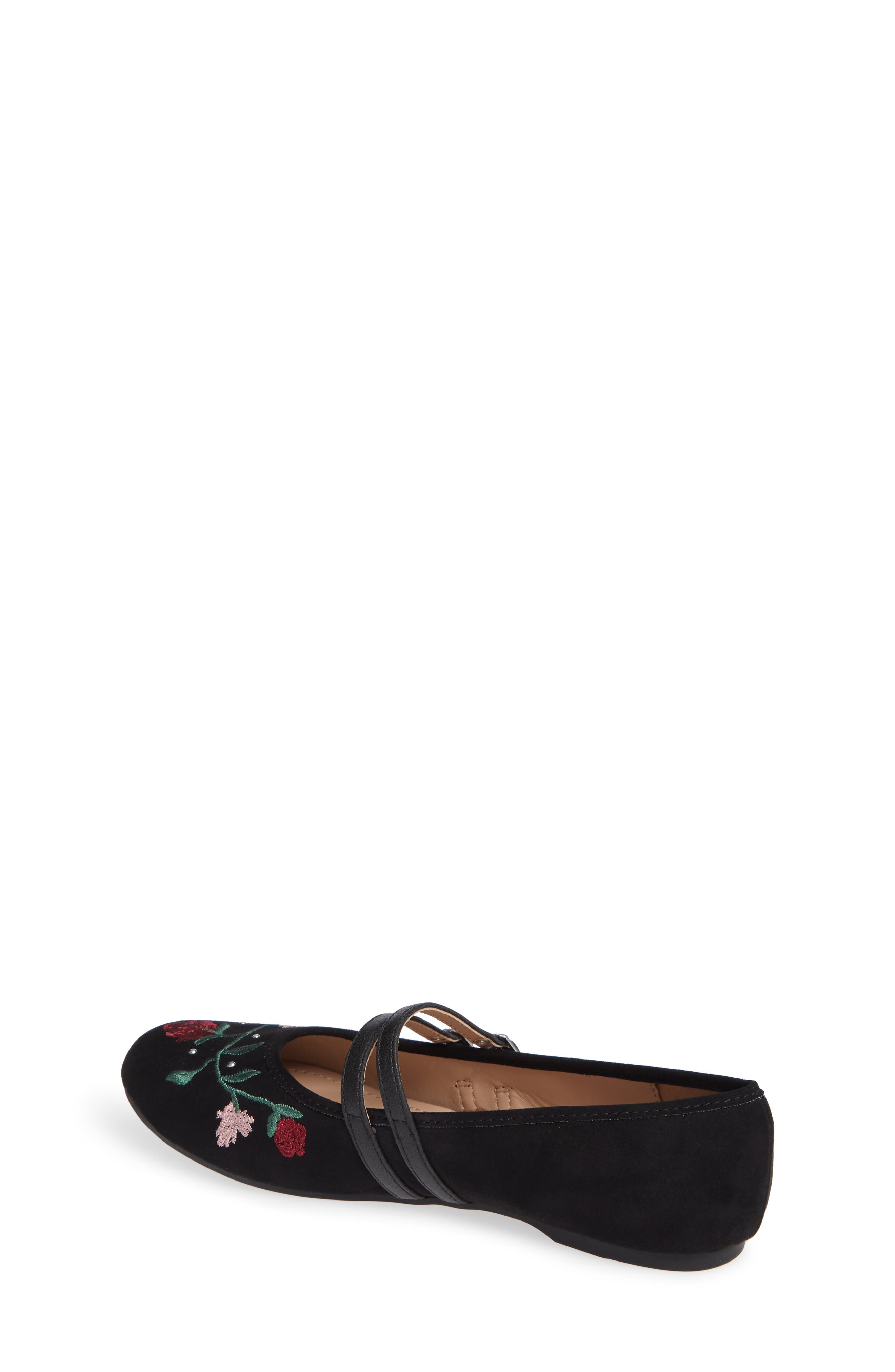 Embroidered Mary Jane Flat,                             Alternate thumbnail 2, color,                             BLACK MICRO SUEDE