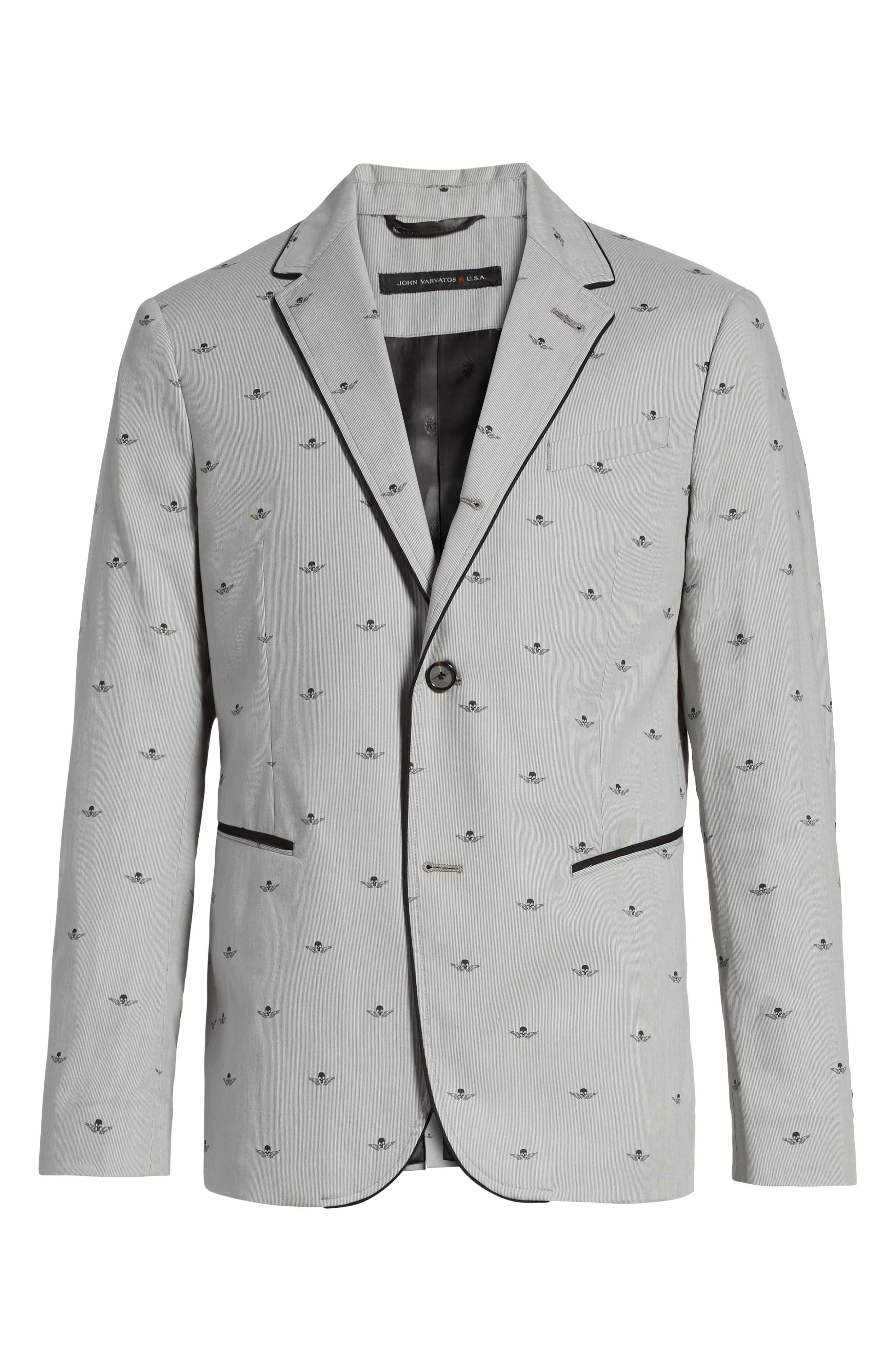 JOHN VARVATOS STAR USA,                             Slim Fit Print Cotton Blazer,                             Alternate thumbnail 5, color,                             038
