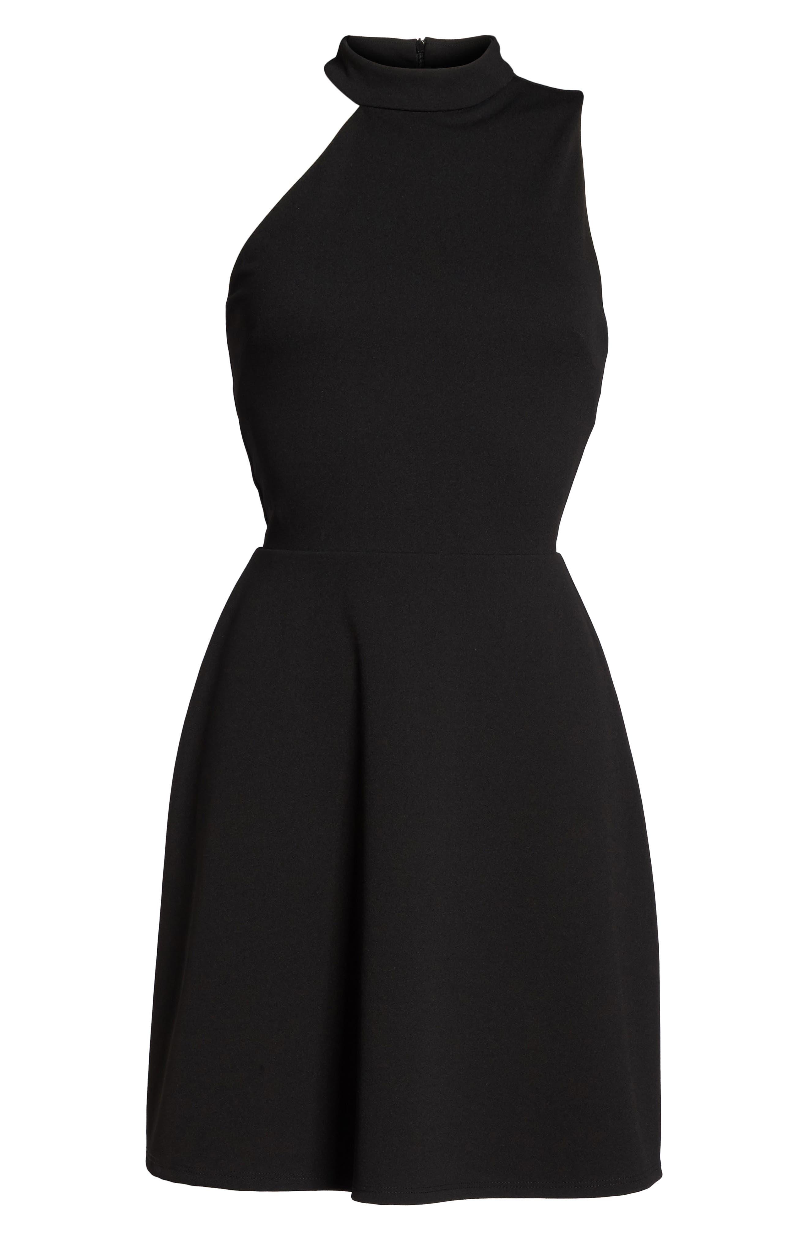 Mock Neck Fit & Flare Dress,                             Alternate thumbnail 7, color,                             001