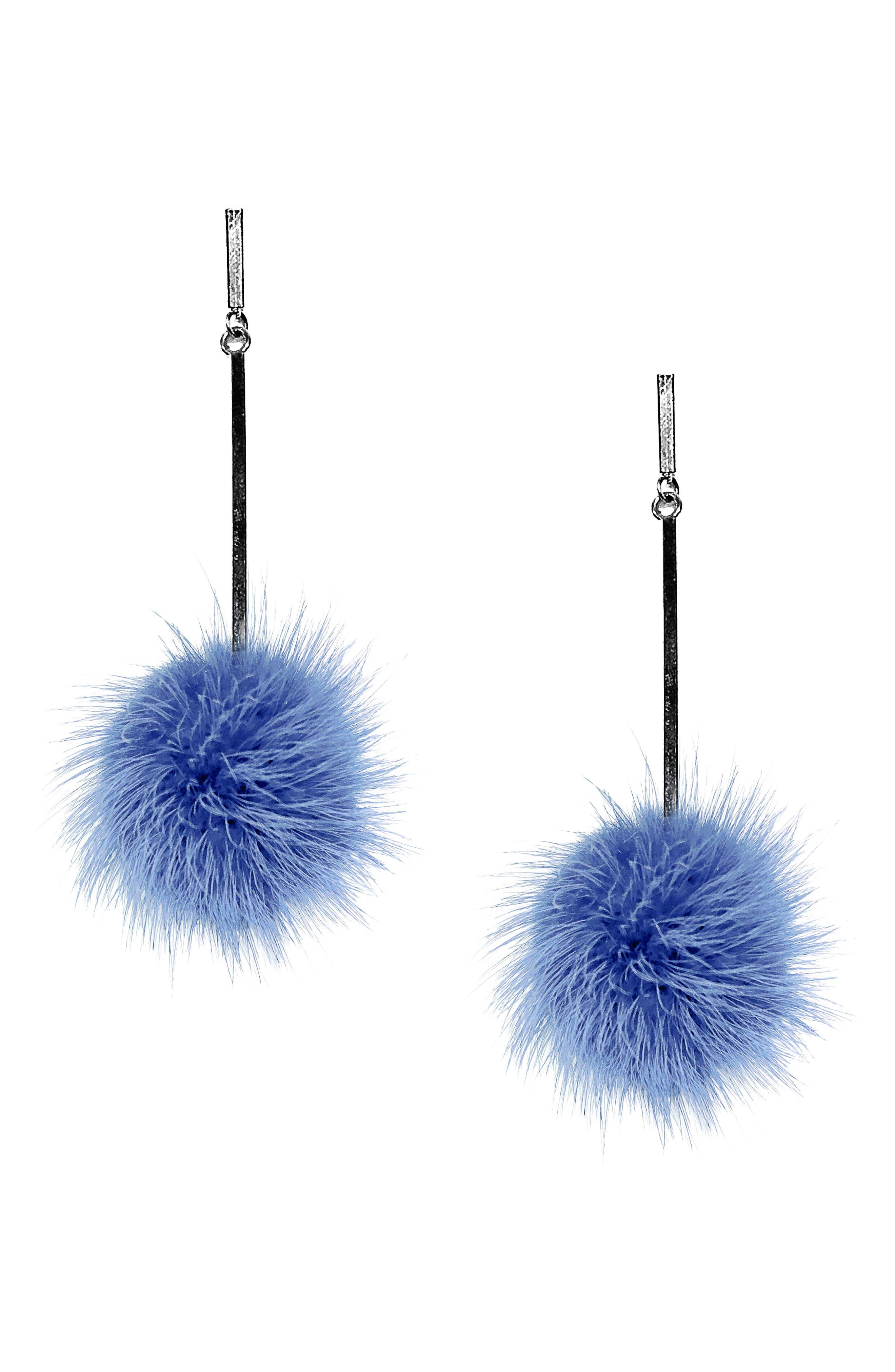 Genuine Mink Fur Pompom Earrings,                             Main thumbnail 2, color,