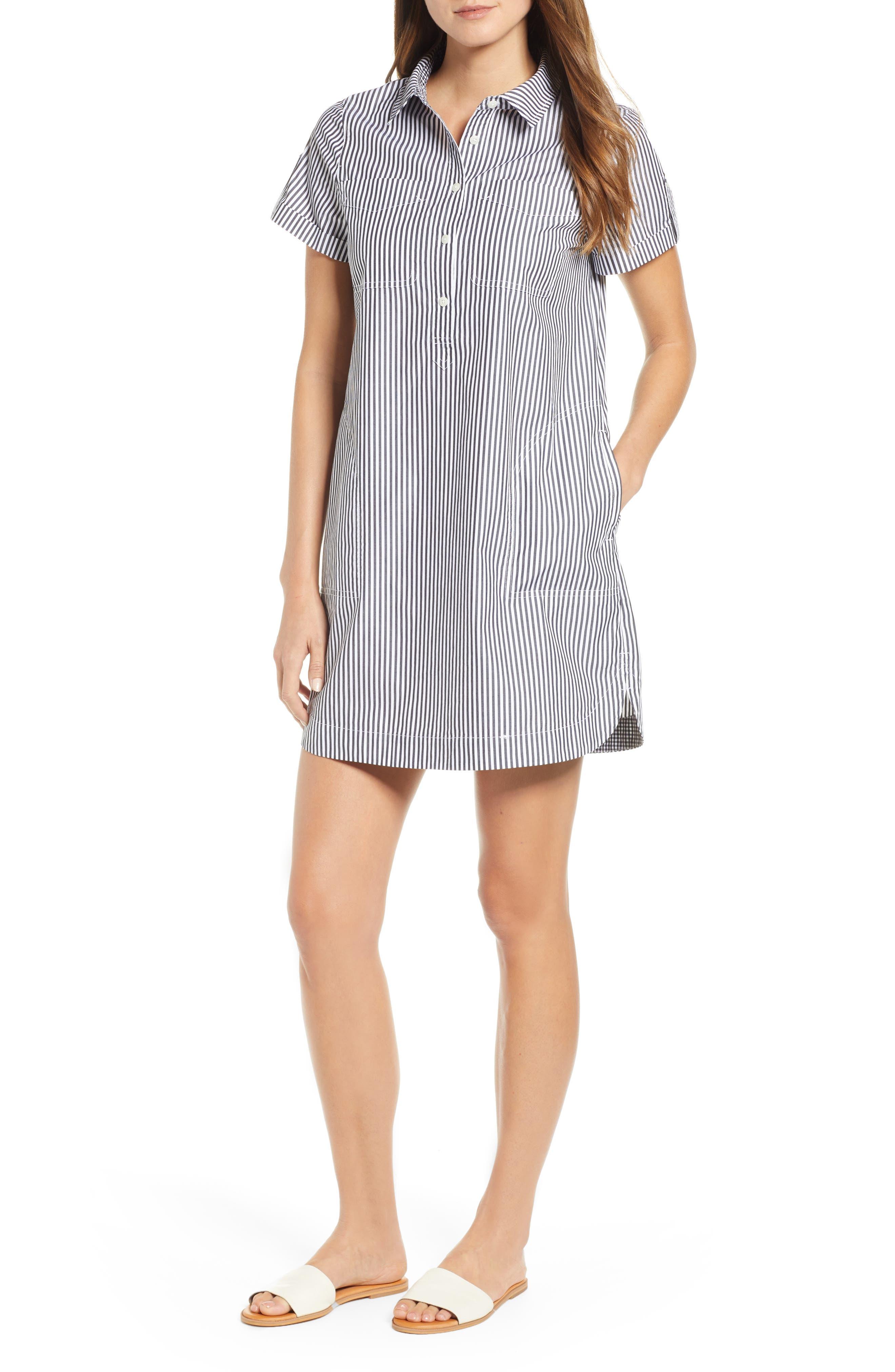 Stripe Utility Shirtdress,                             Main thumbnail 1, color,                             002