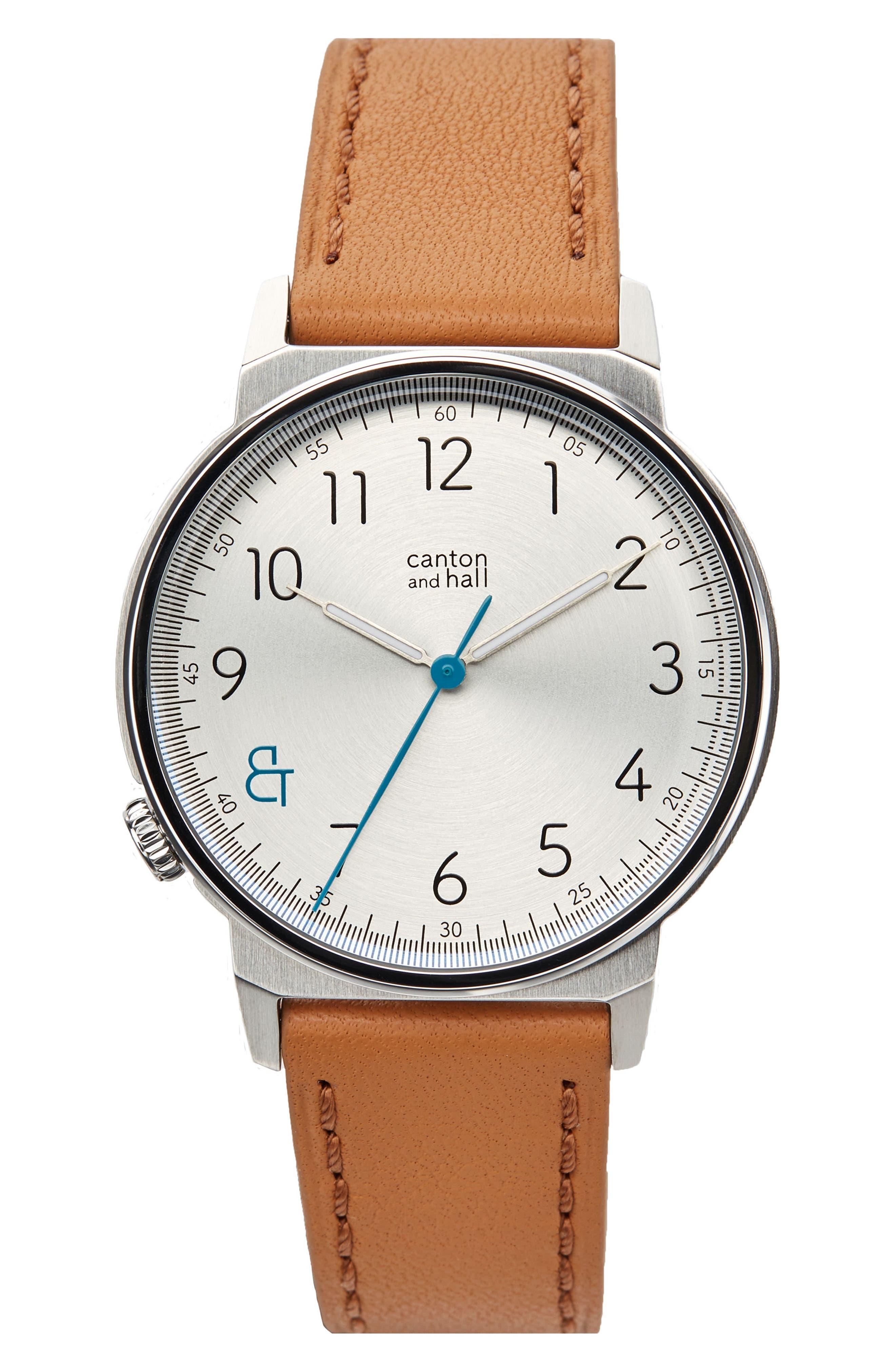 Davis Slim Leather Strap Watch, 40mm,                         Main,                         color, WHITE/ TAN