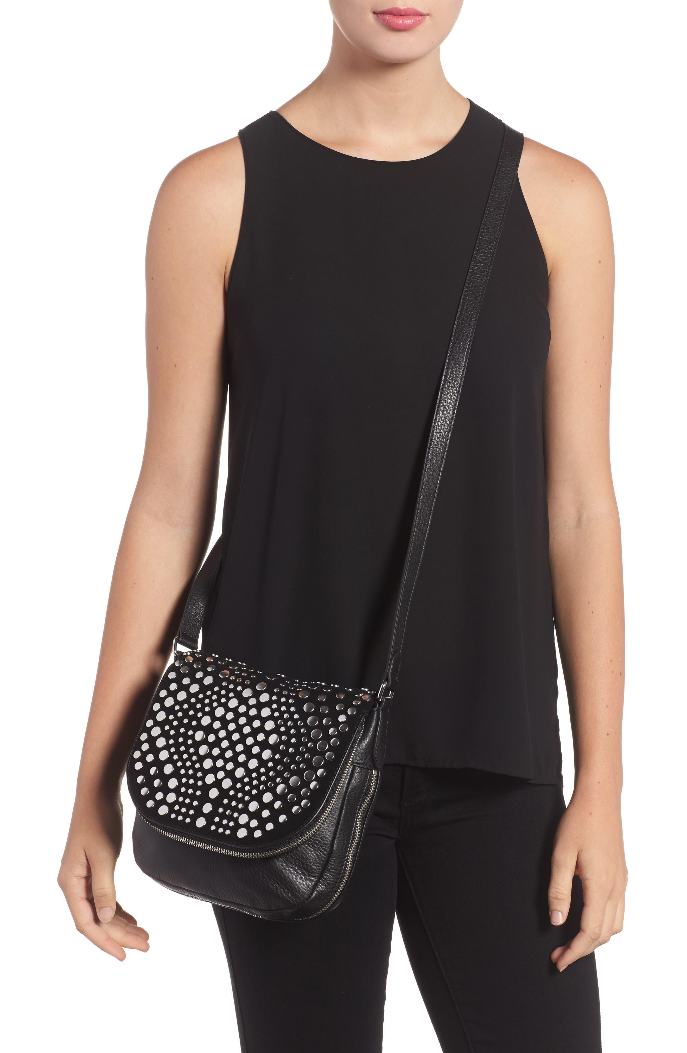 Bonny Studded Leather Crossbody Bag,                             Alternate thumbnail 3, color,