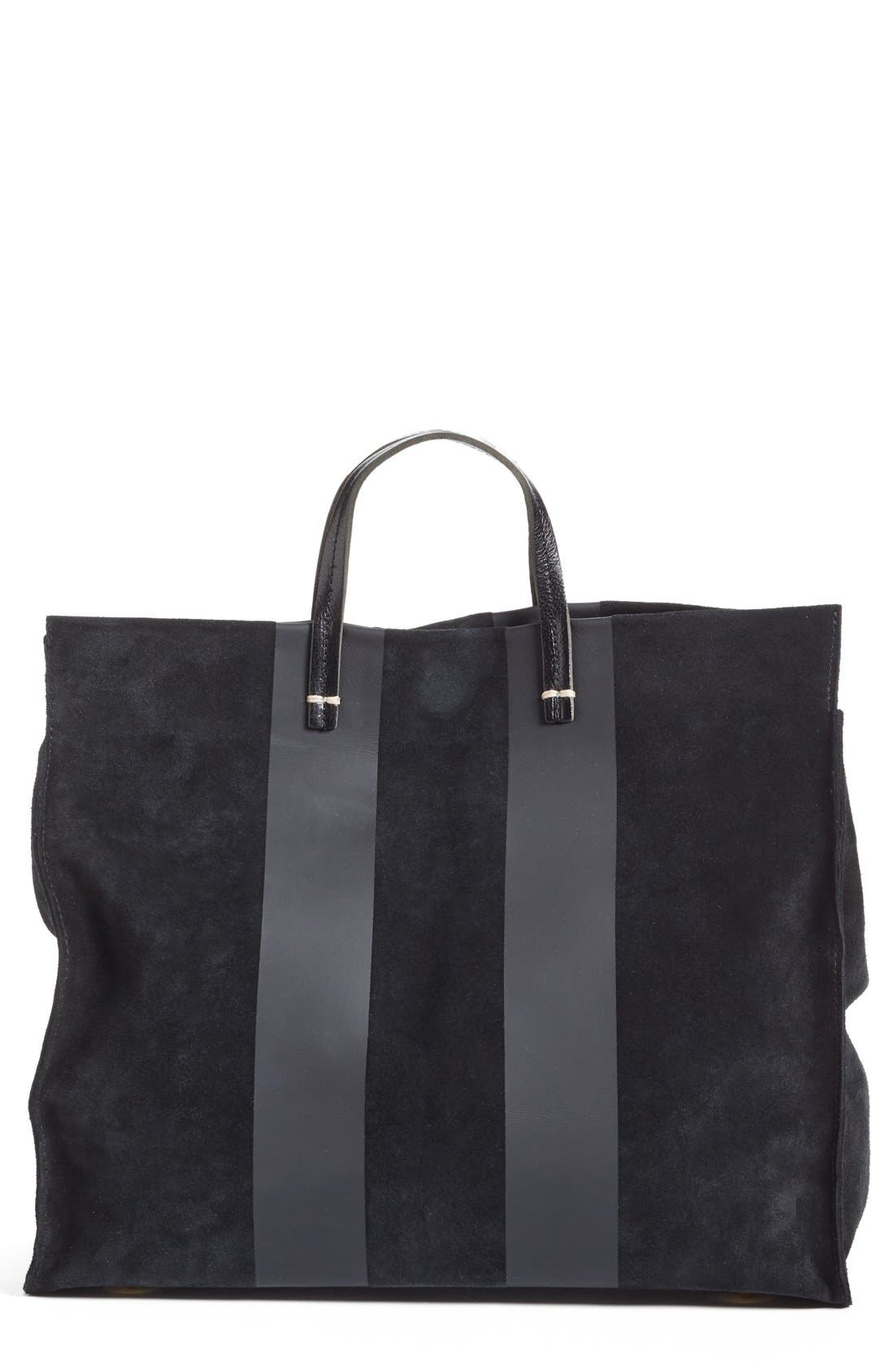 'Simple' Stripe Leather Tote,                             Main thumbnail 1, color,                             002