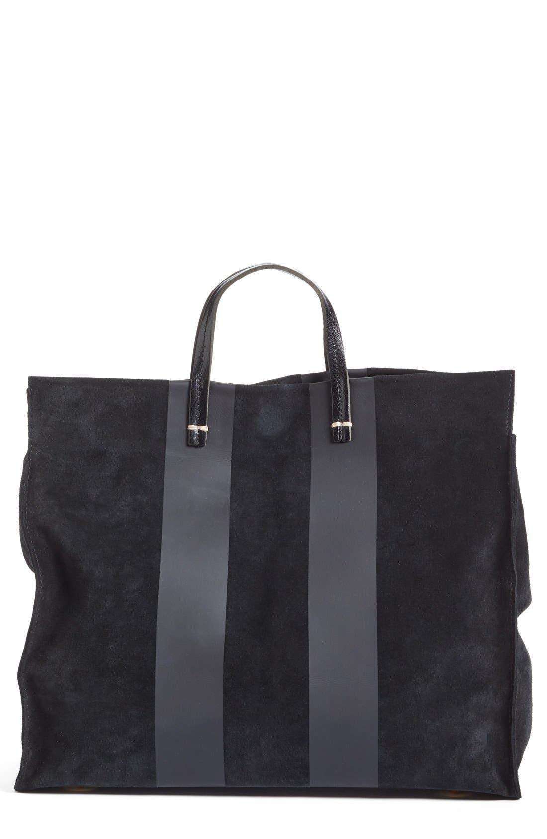 'Simple' Stripe Leather Tote,                         Main,                         color, 002