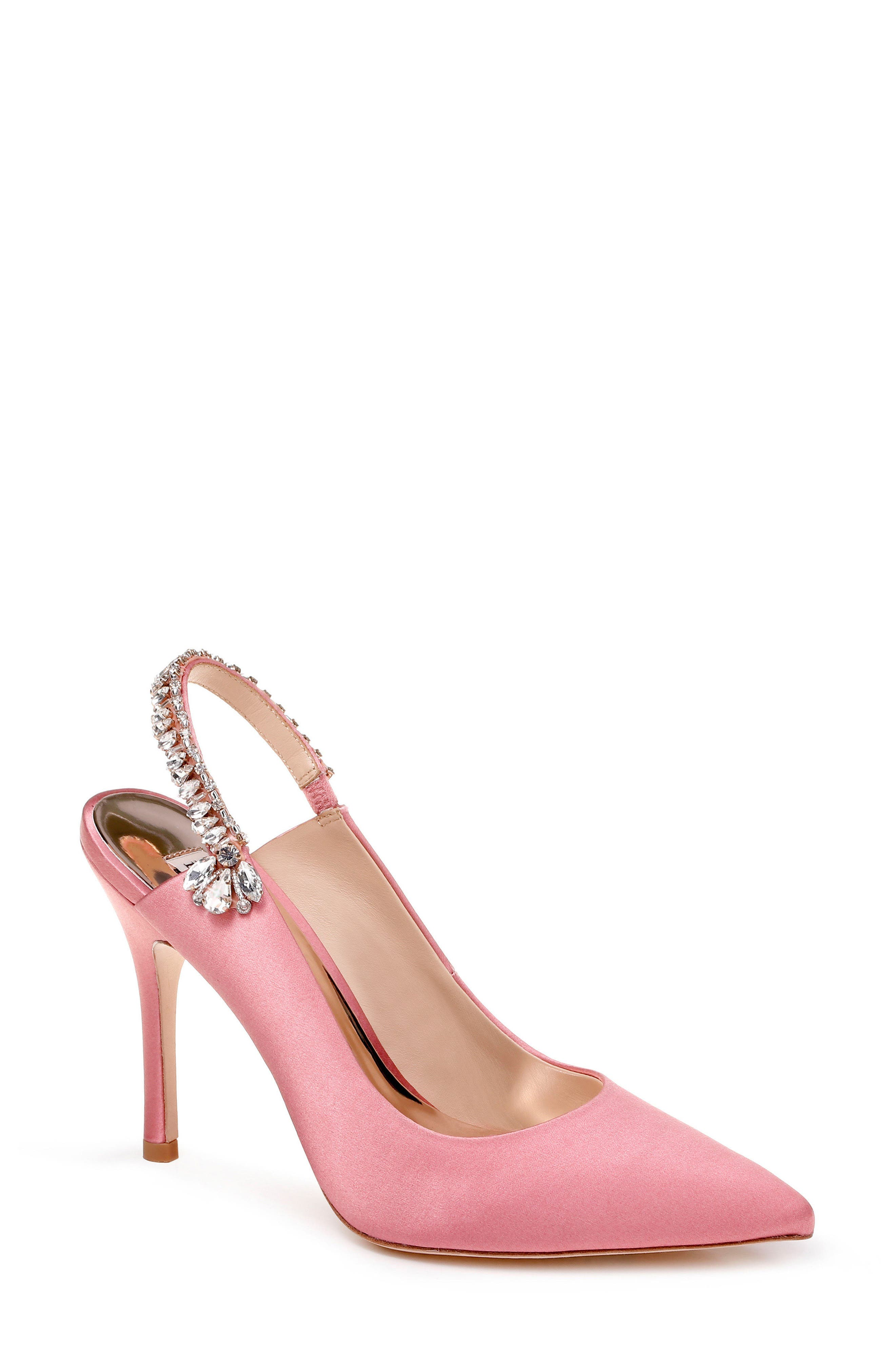 Paxton Pointy Toe Slingback Pump,                         Main,                         color, ROSE SATIN