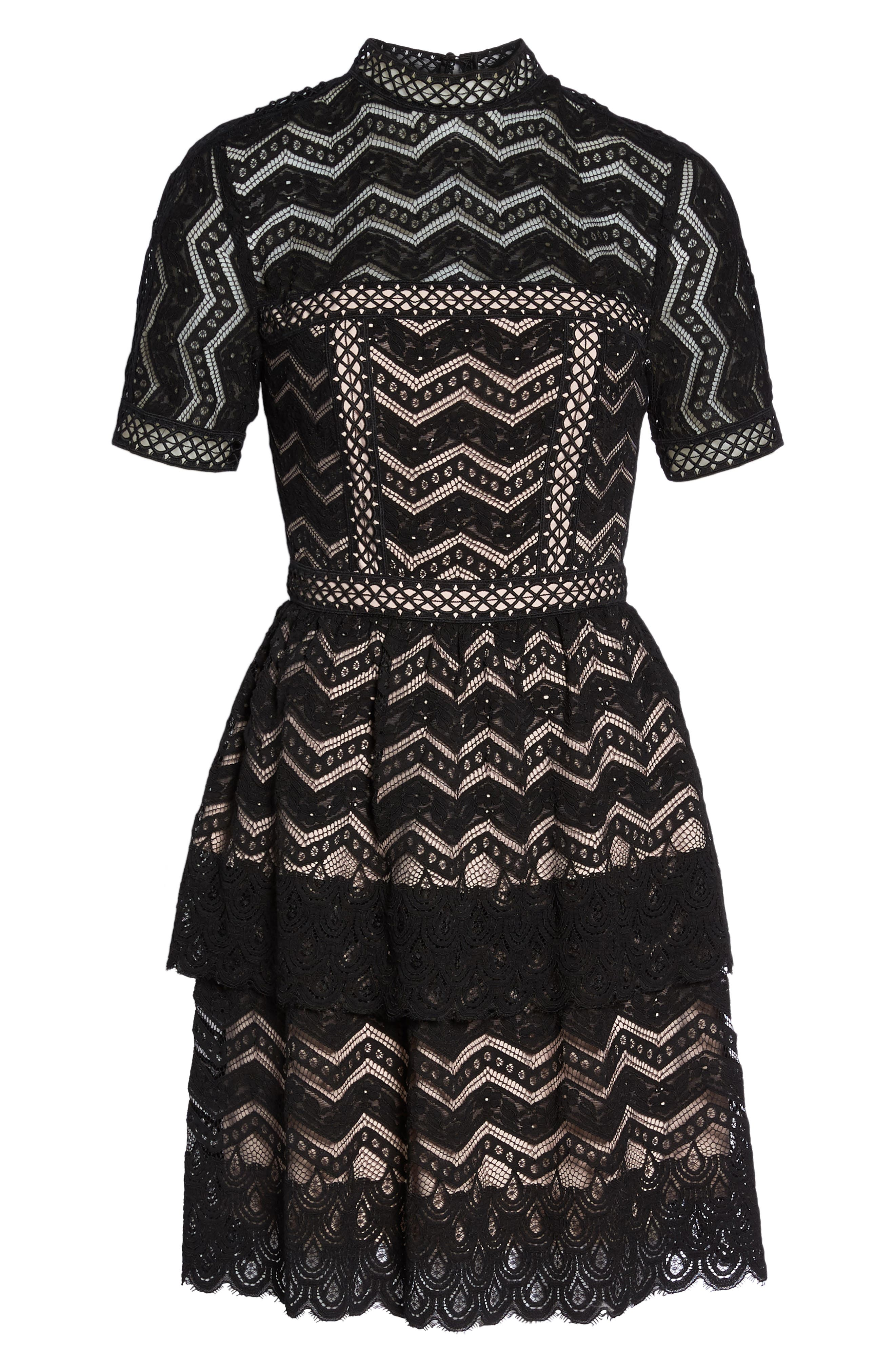 Tiered Lace Fit & Flare Dress,                             Alternate thumbnail 7, color,                             001