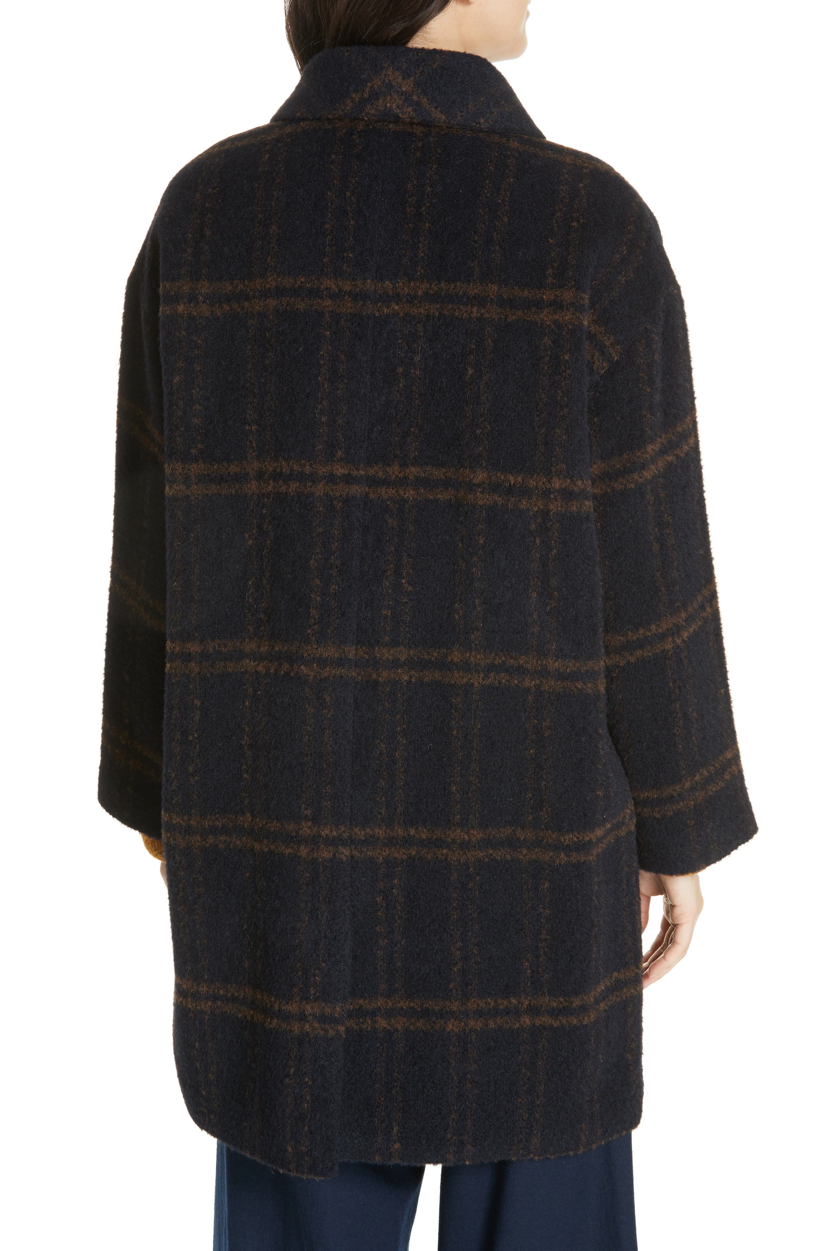 Double Breasted Plaid Alpaca Blend Coat,                             Alternate thumbnail 2, color,                             MIDNIGHT