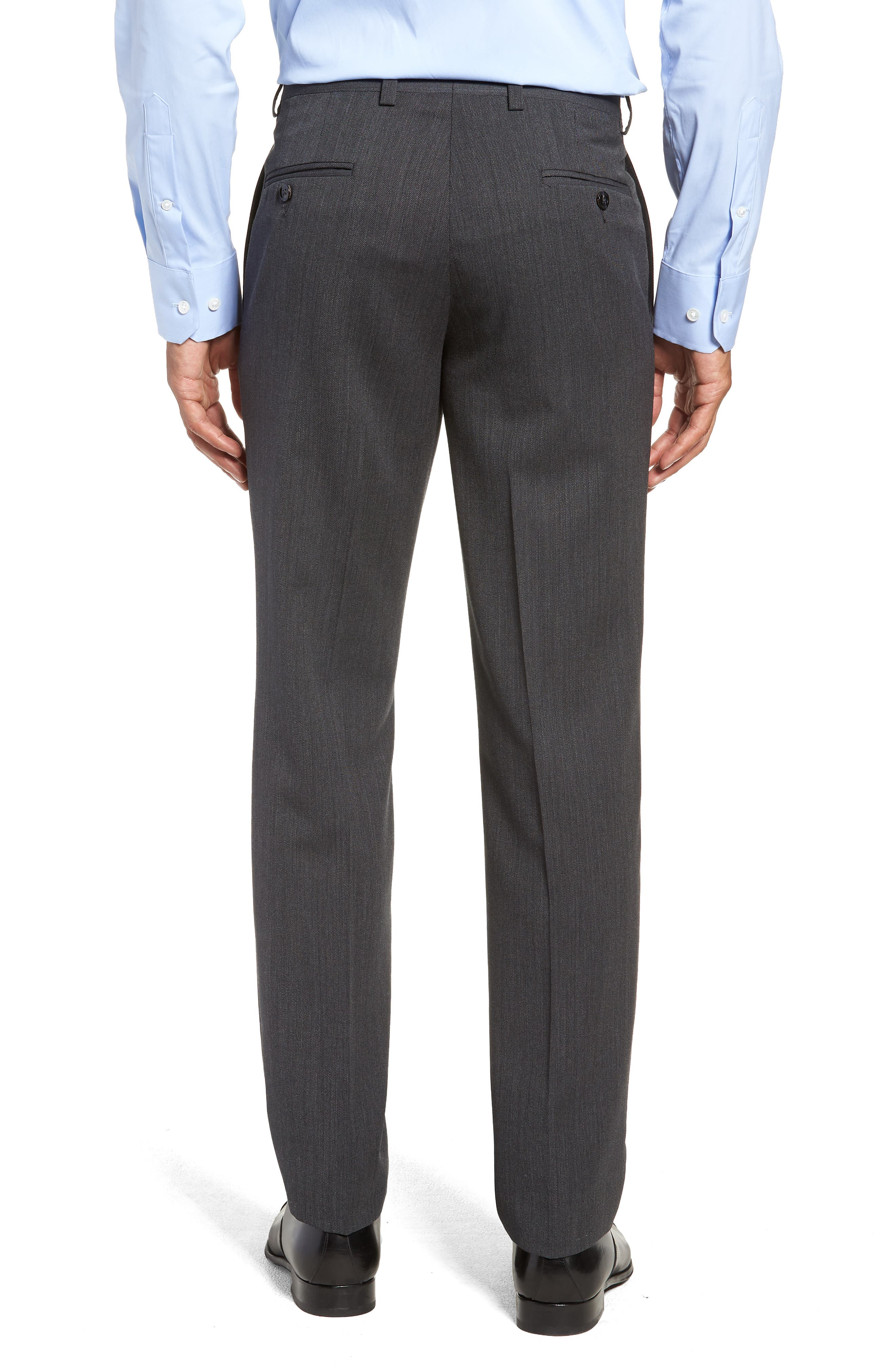 Jefferson Flat Front Solid Wool Trousers,                             Alternate thumbnail 2, color,                             GREY