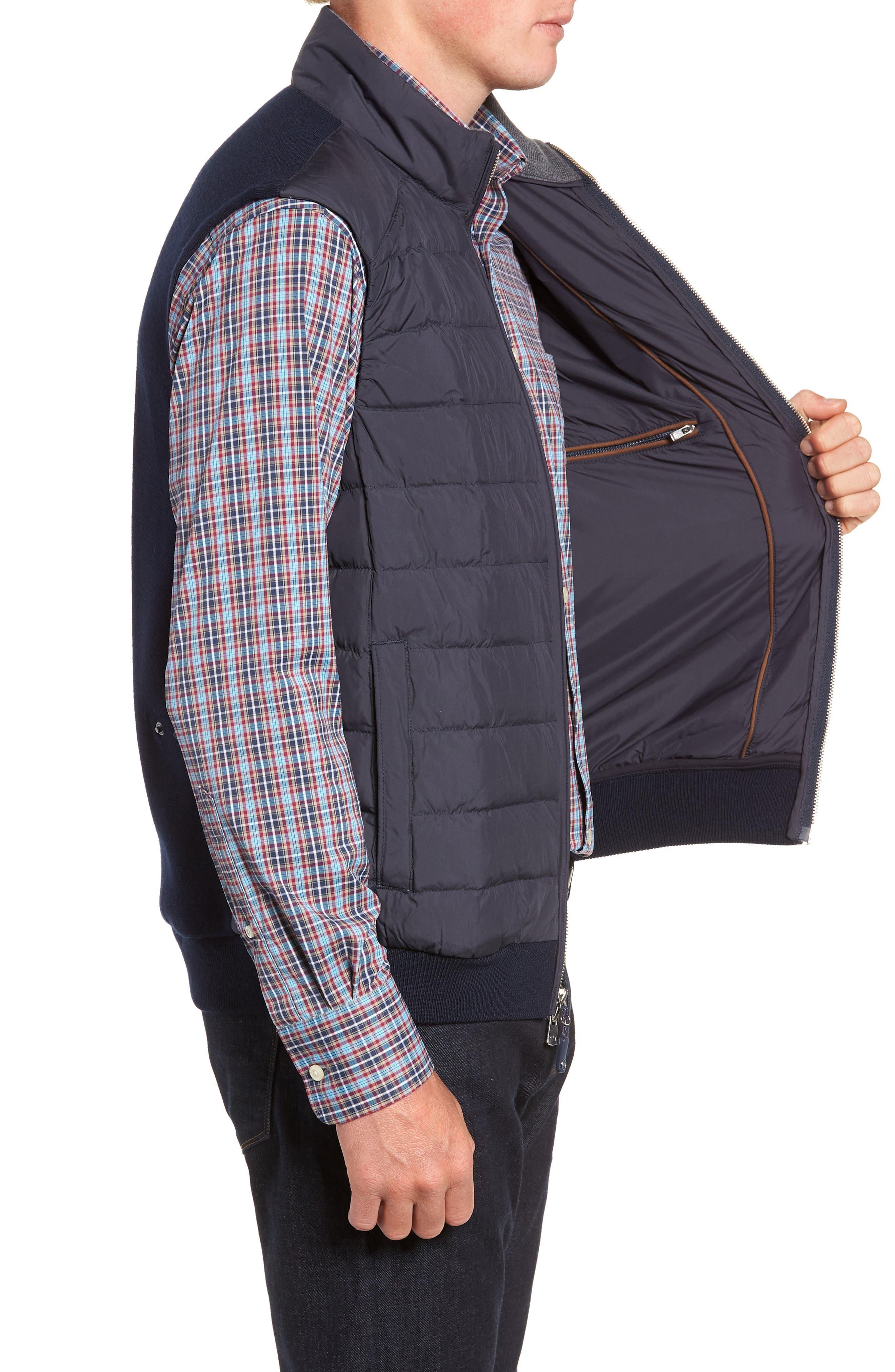 Crown Elite Channel Quilted Hybrid Vest,                             Alternate thumbnail 3, color,                             NAVY