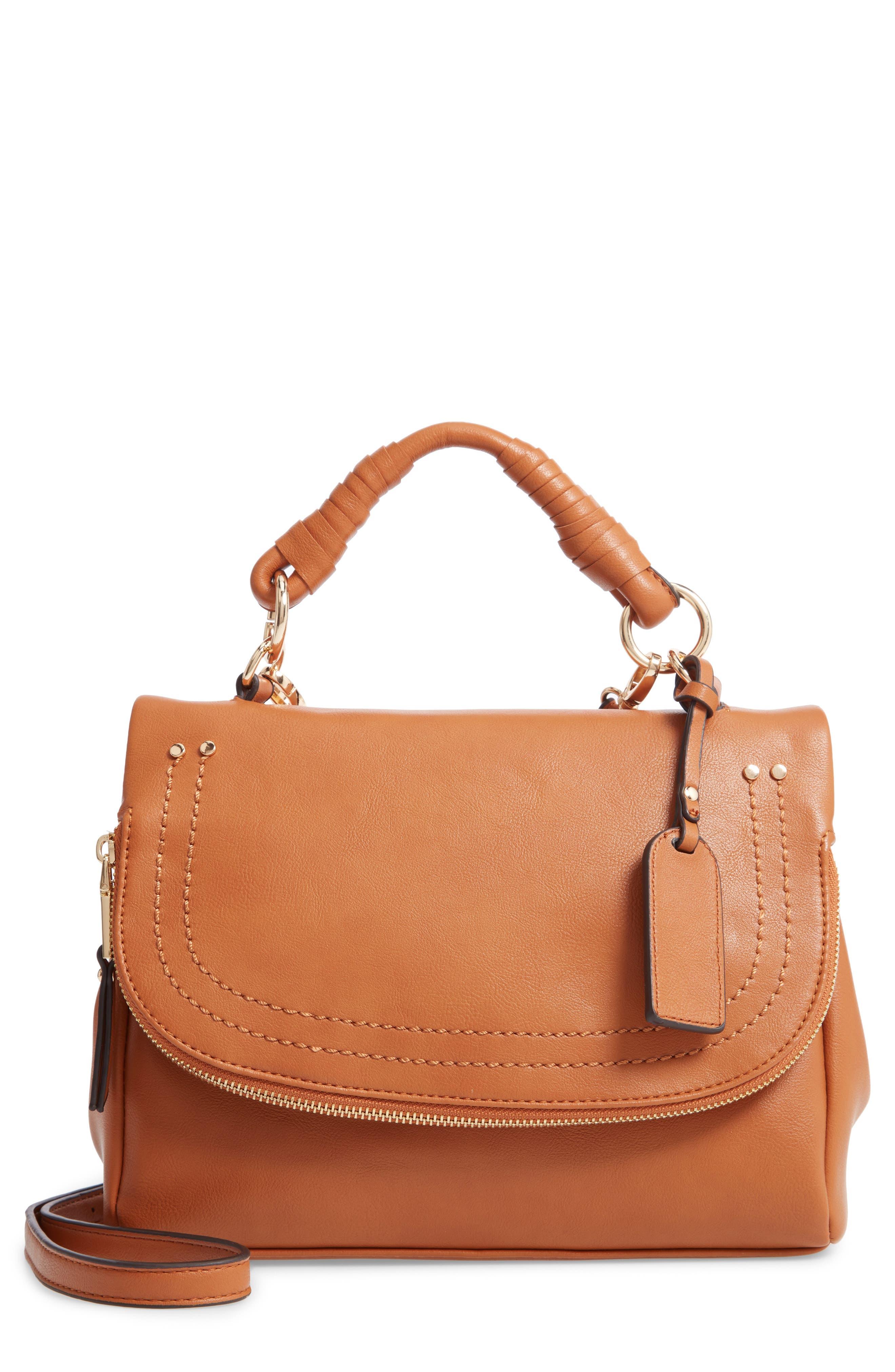 SOLE SOCIETY,                             Rubie Faux Leather Crossbody Bag,                             Main thumbnail 1, color,                             COGNAC