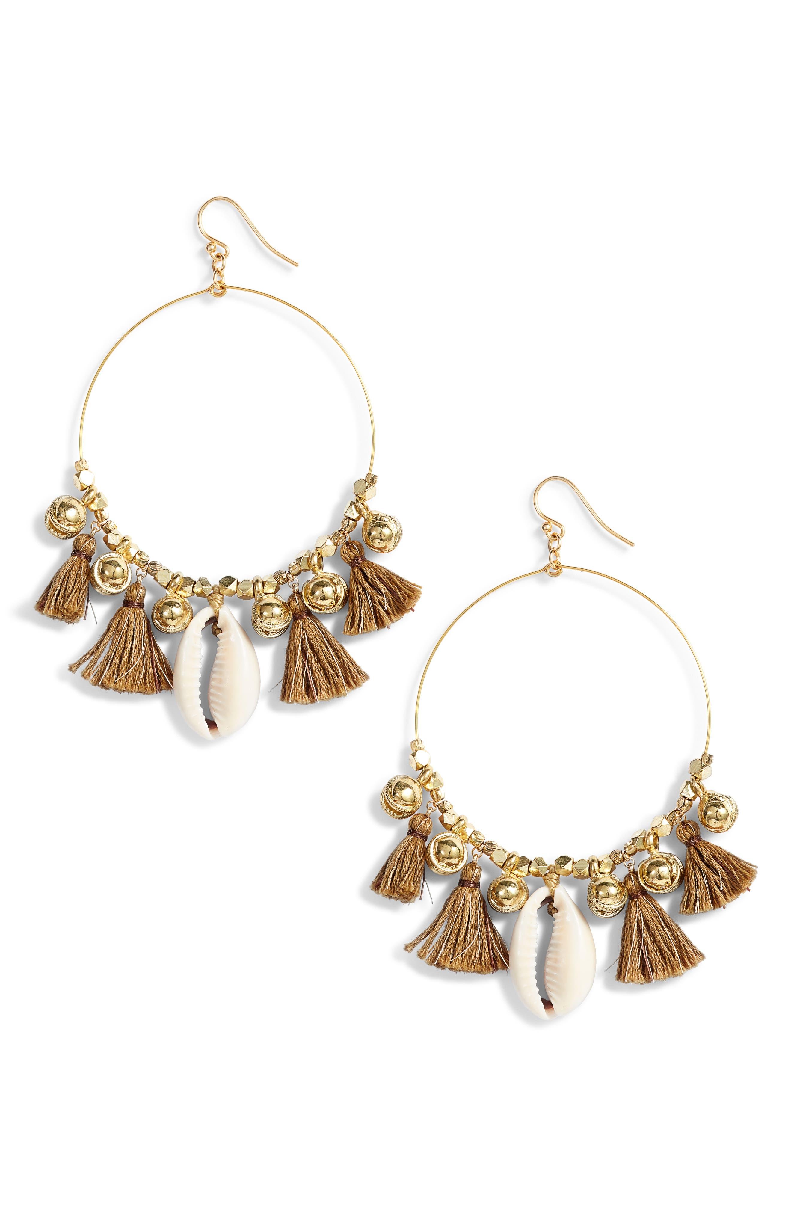 CHAN LUU Tassel & Cowry Shell Hoop Earrings in Deep Sage