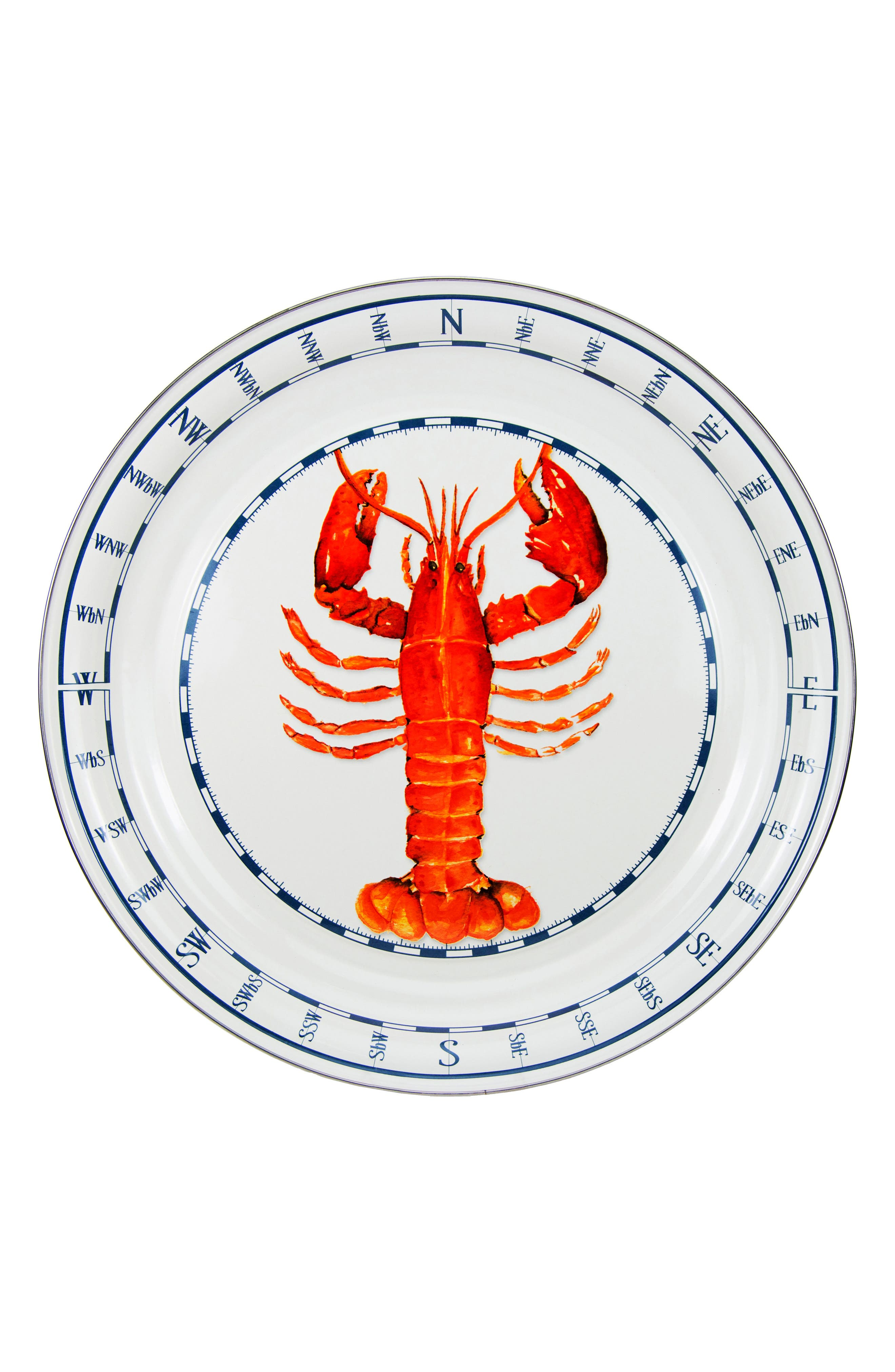 Lobster Enameled Serving Tray,                             Main thumbnail 1, color,                             LOBSTER