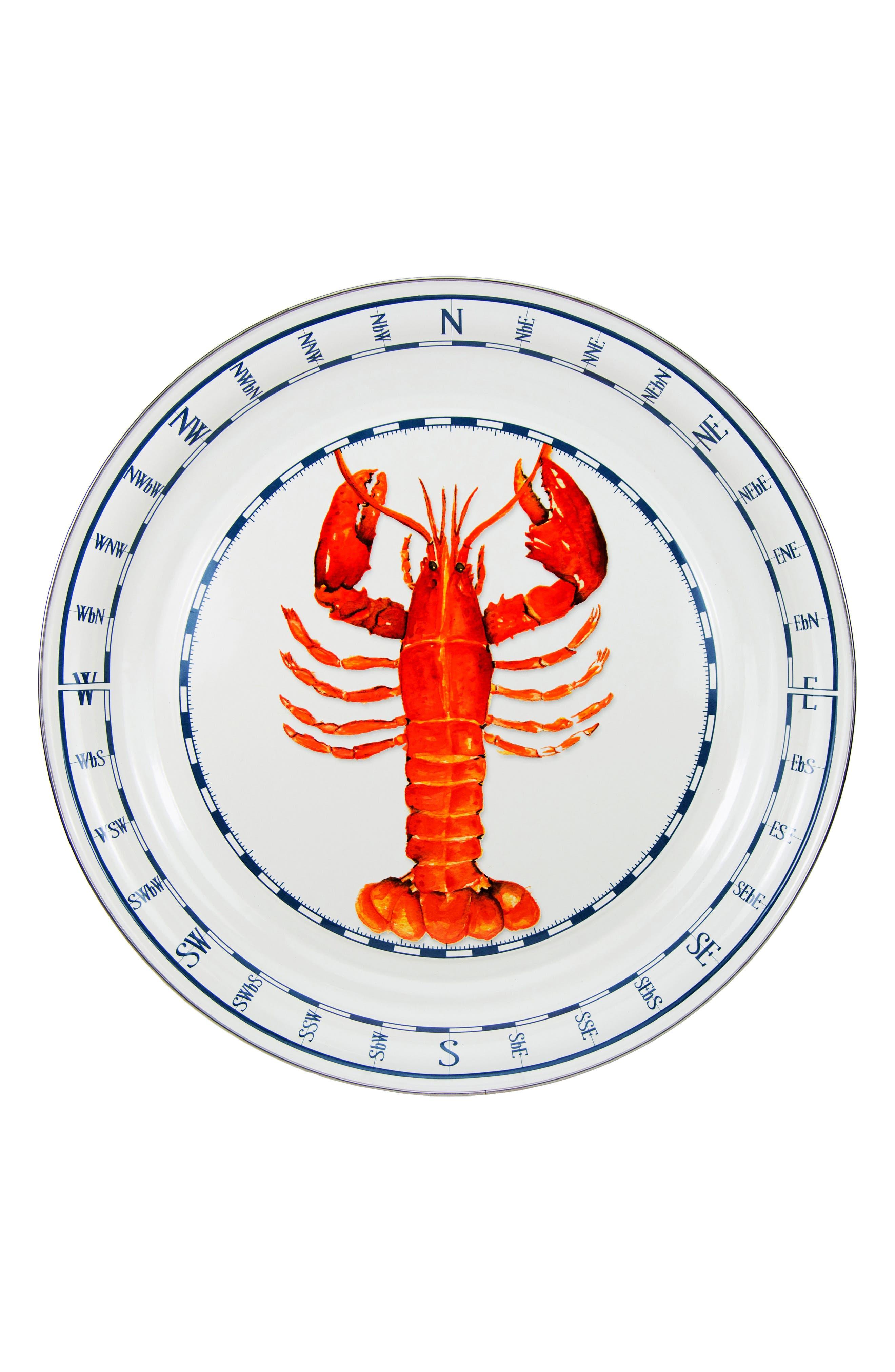 Lobster Enameled Serving Tray,                         Main,                         color, LOBSTER