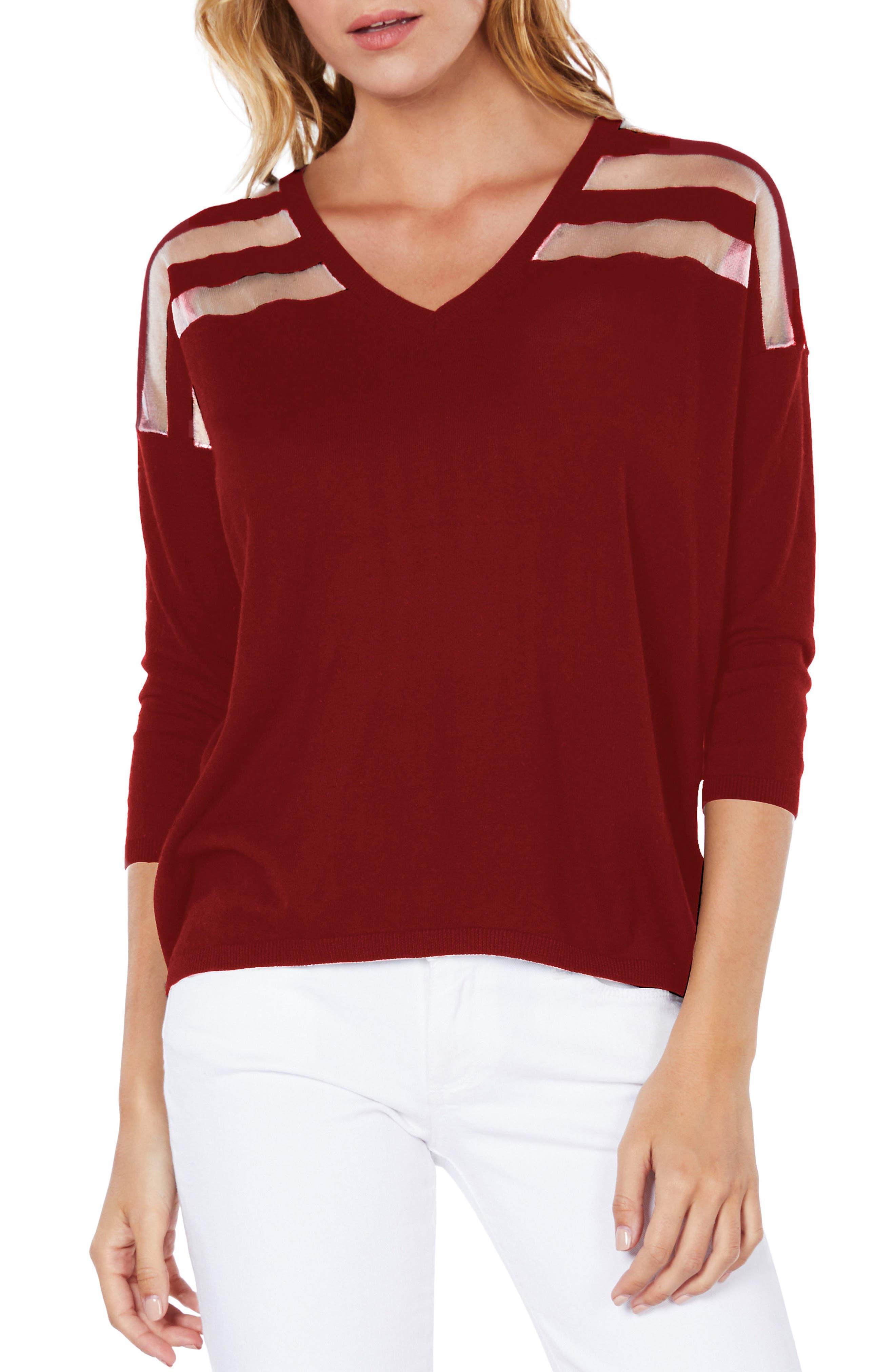Sheer Stripe Sweater,                             Main thumbnail 3, color,