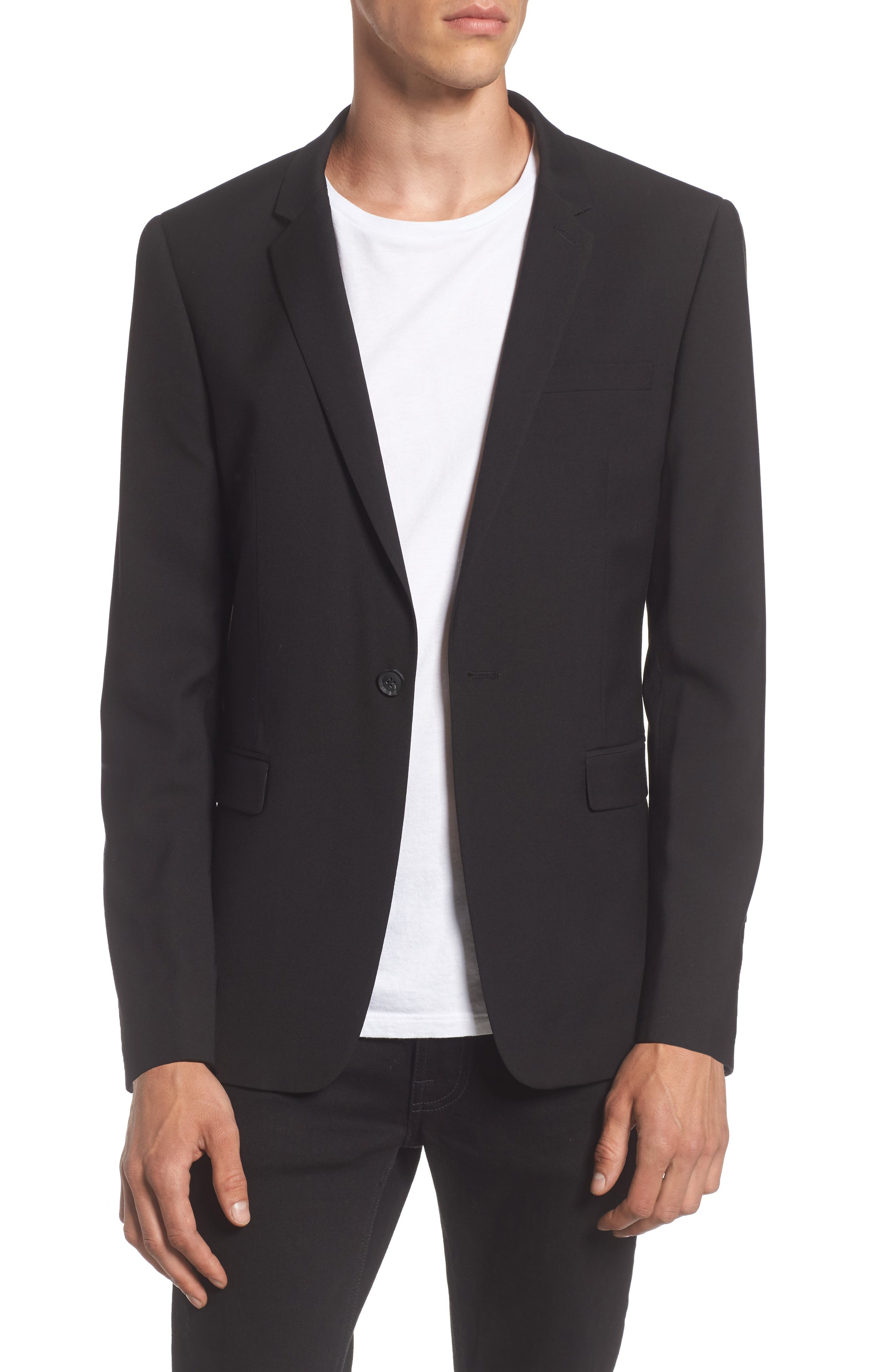 Ultra Skinny Black Suit Jacket,                             Alternate thumbnail 2, color,                             BLACK