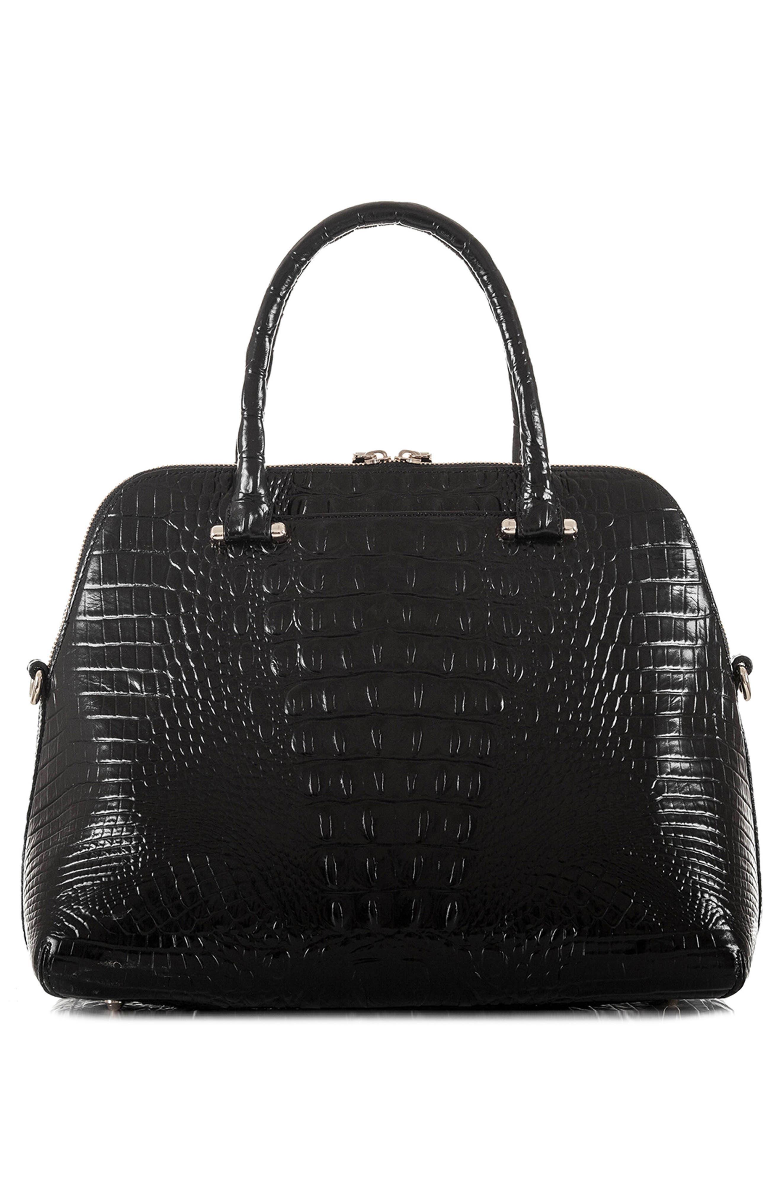 Melbourne – Sydney Croc Embossed Leather Satchel,                             Alternate thumbnail 3, color,                             BLACK