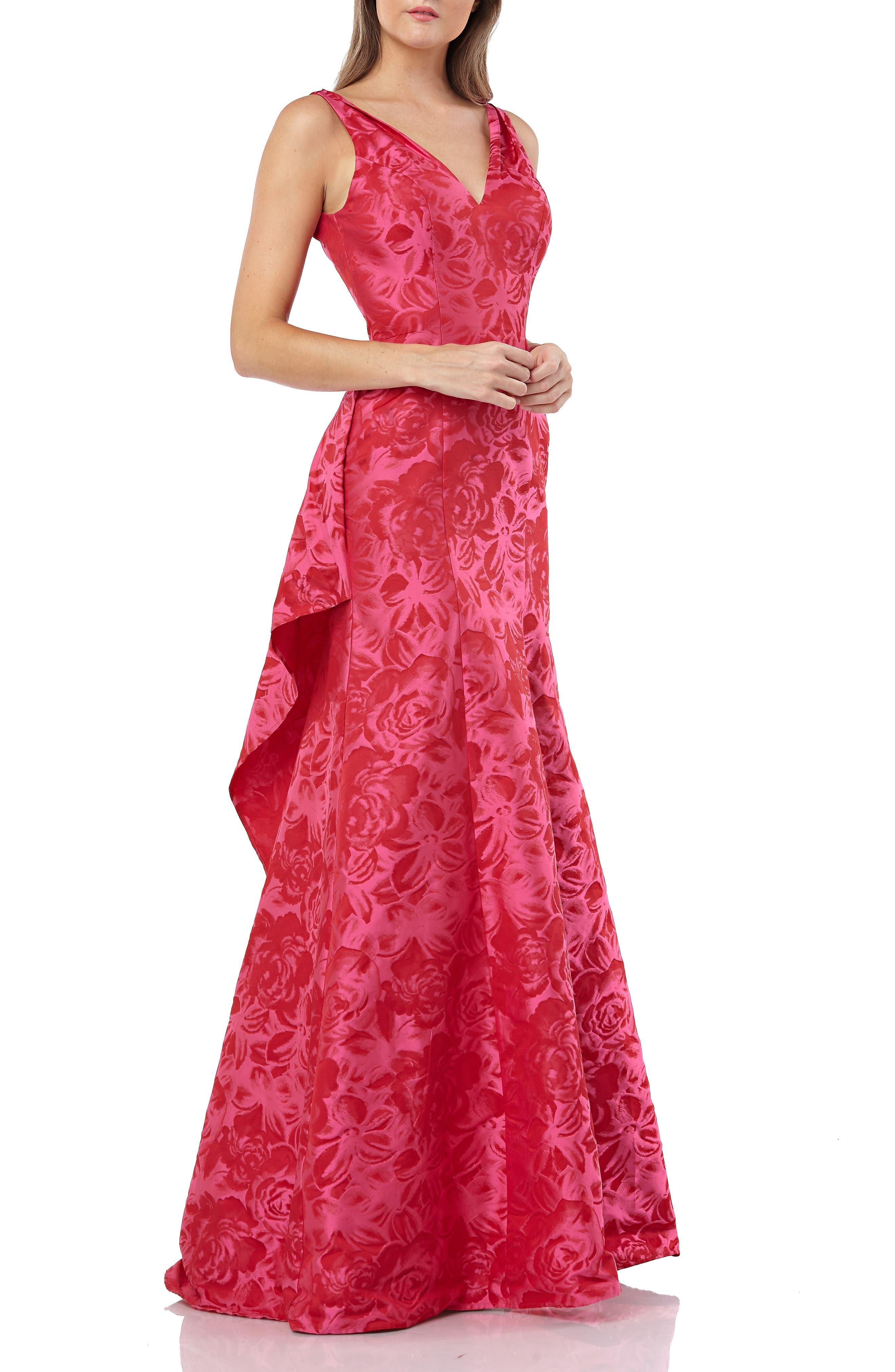 Carmen Marc Valvo Infusion V-Neck Jacquard Evening Dress, Pink