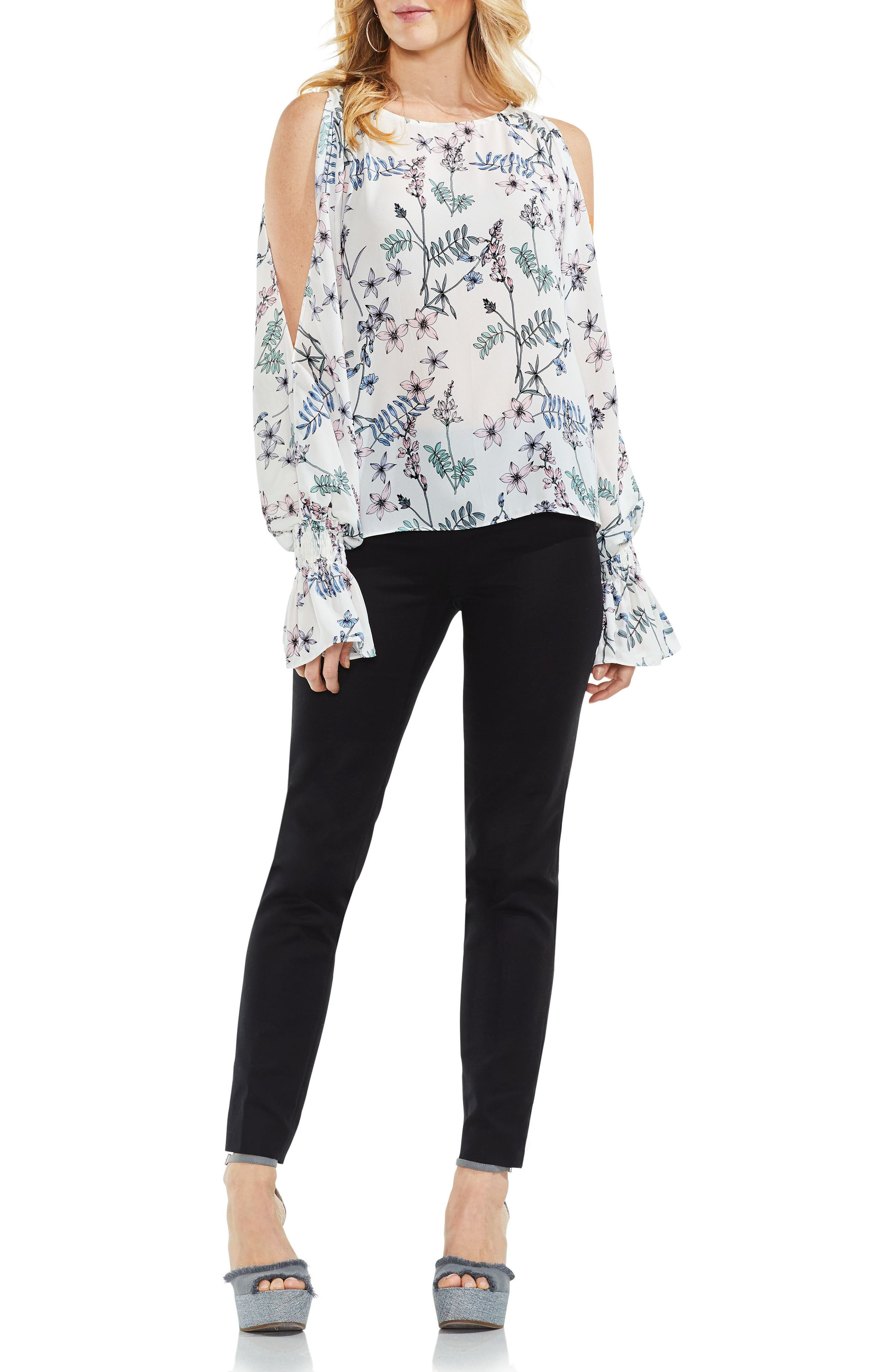 Flare Cuff Cold Shoulder Floral Top,                             Alternate thumbnail 6, color,