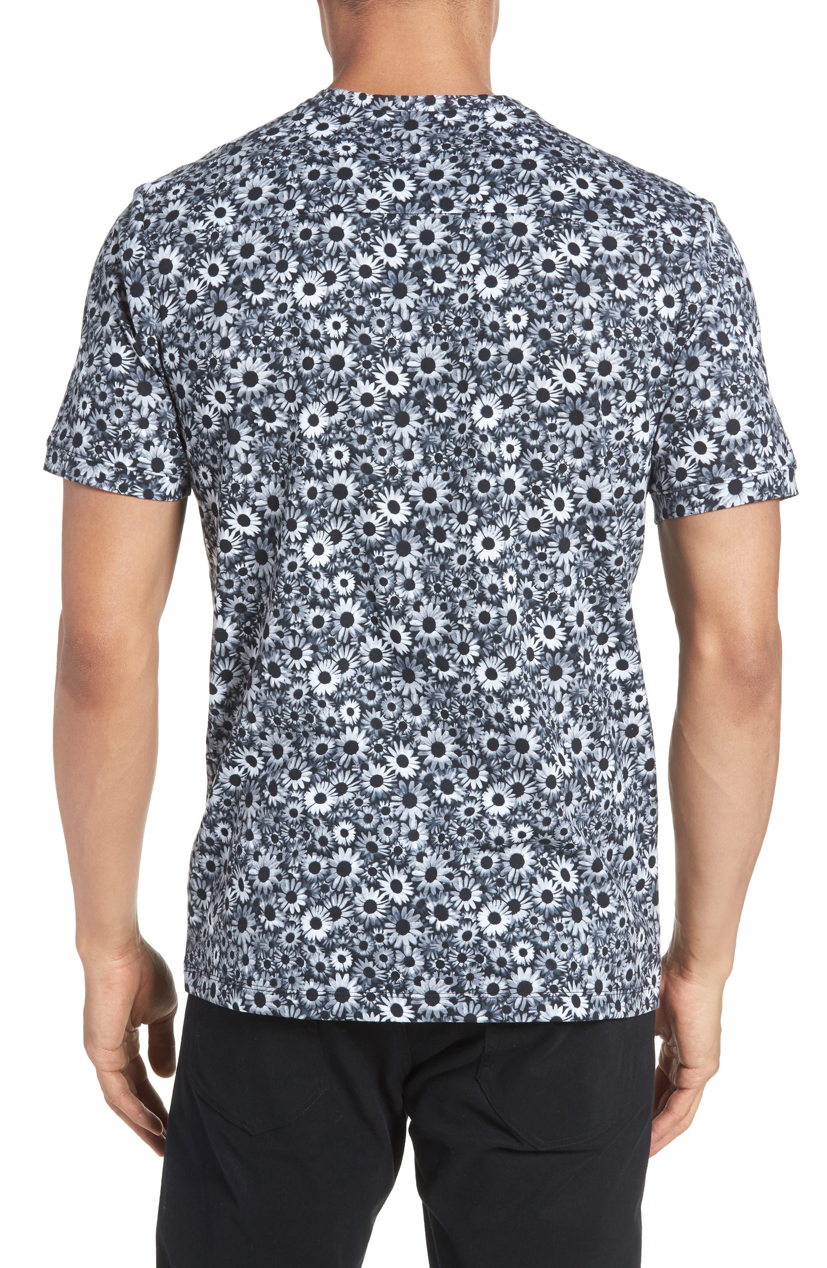 Print T-Shirt,                             Alternate thumbnail 2, color,                             BLACK WHITE DAISY FLORAL