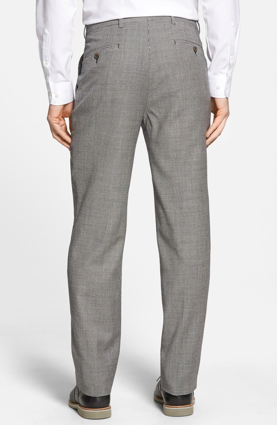 Flat Front Houndstooth Wool Trousers,                             Alternate thumbnail 3, color,                             060