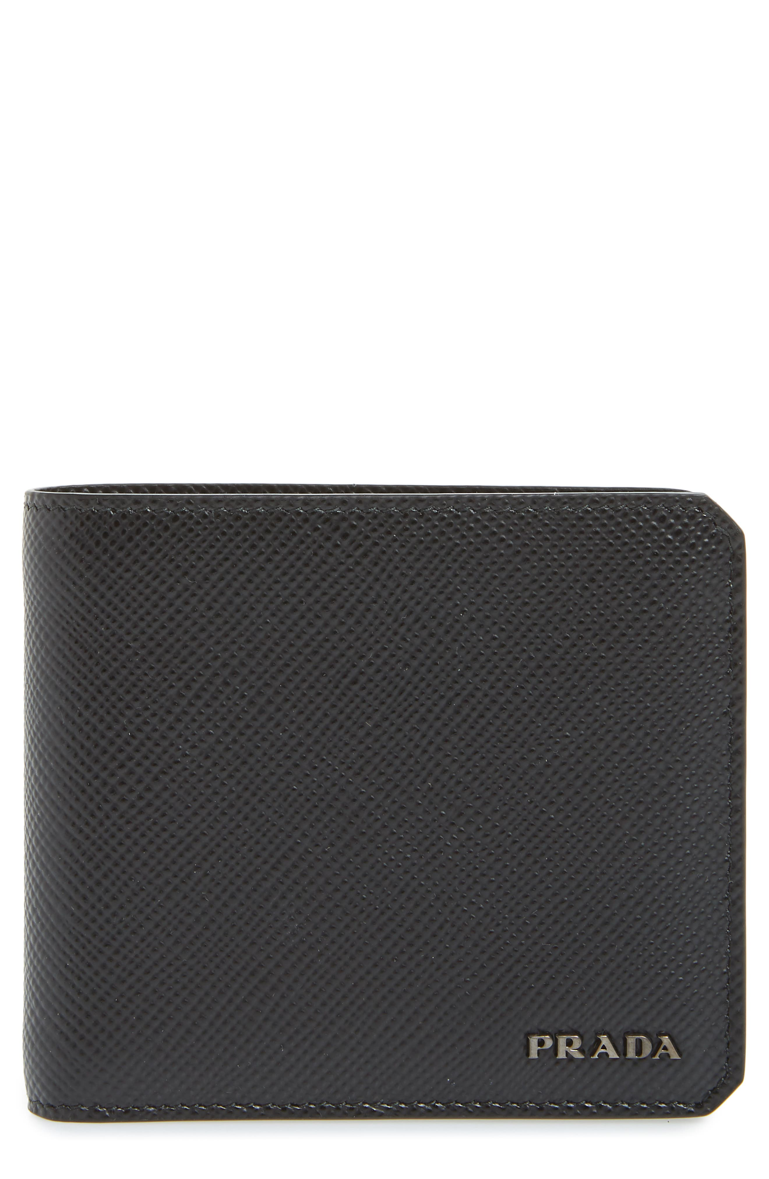 Saffiano Leather Wallet,                         Main,                         color, BLACK