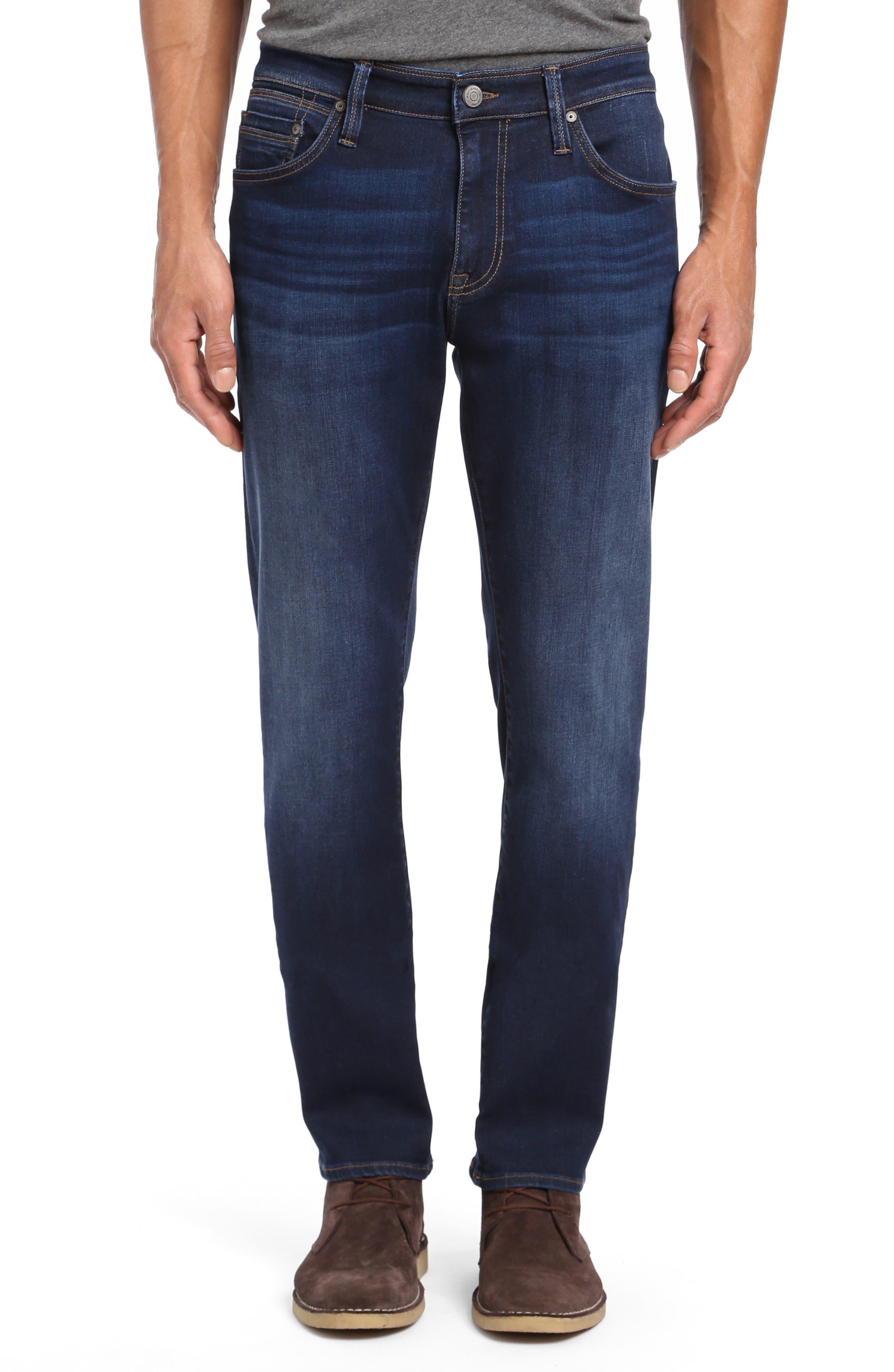 Marcus Slim Straight Leg Jeans,                             Main thumbnail 1, color,                             DEEP SOFT MOVE