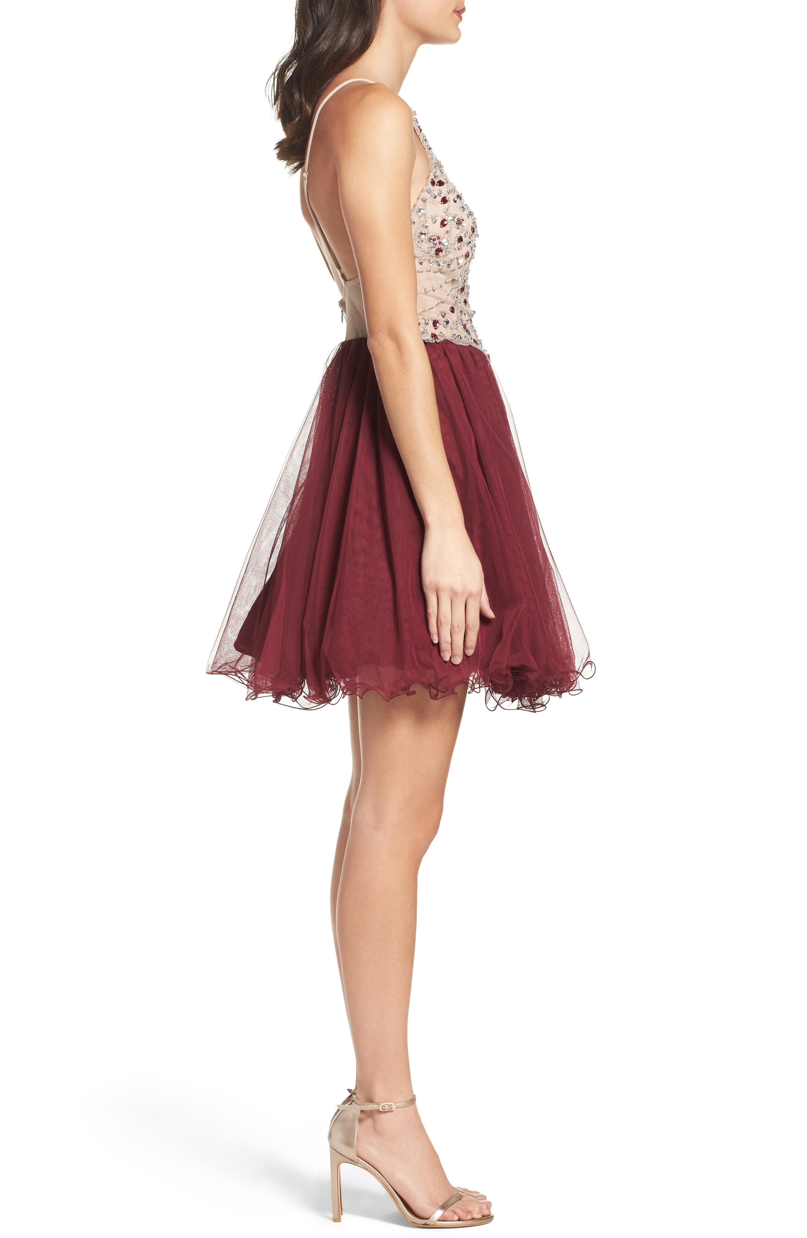 Fit & Flare Dress,                             Alternate thumbnail 3, color,                             649